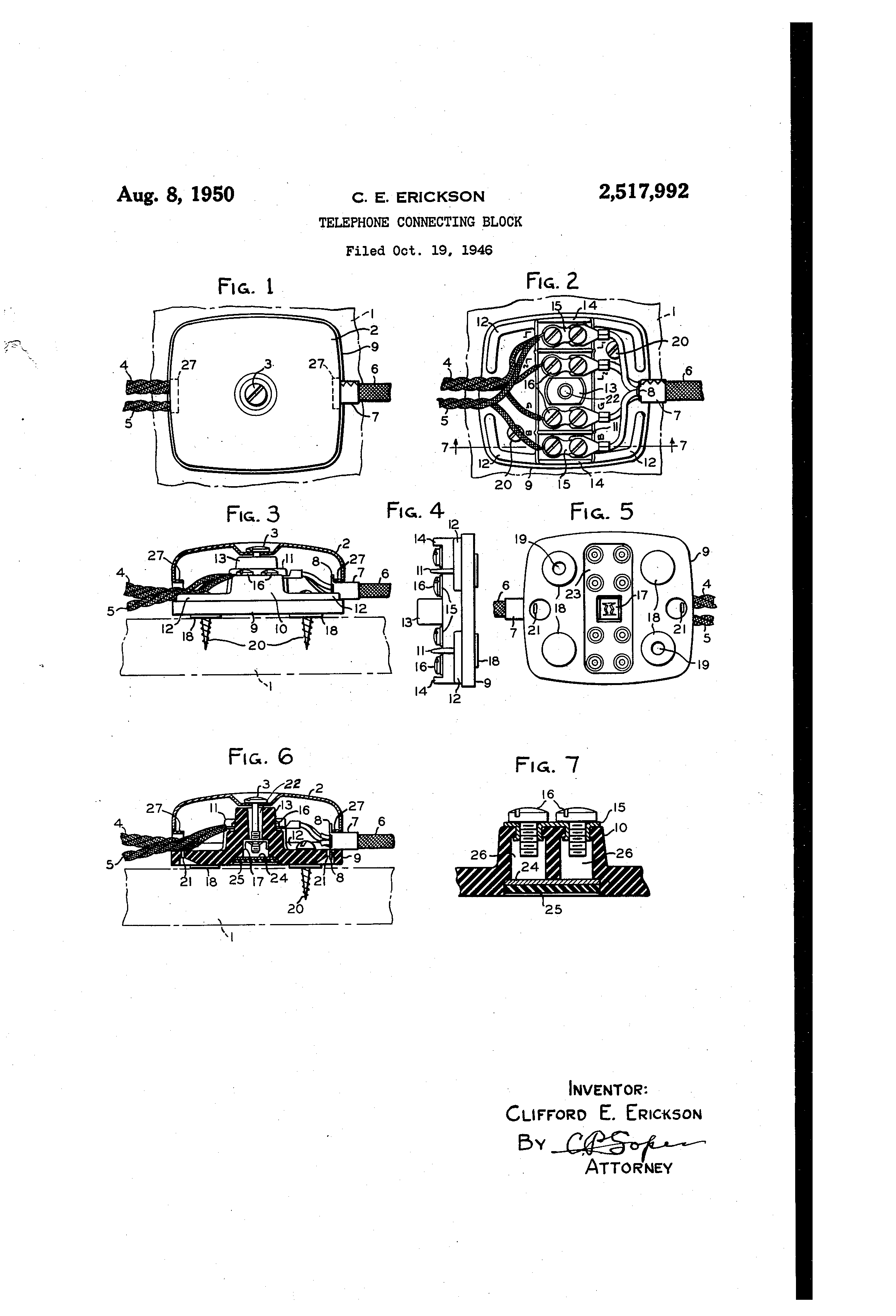 Patent Us2517992 Telephone Connecting Block Google Patentsuche Wiring Junction Drawing