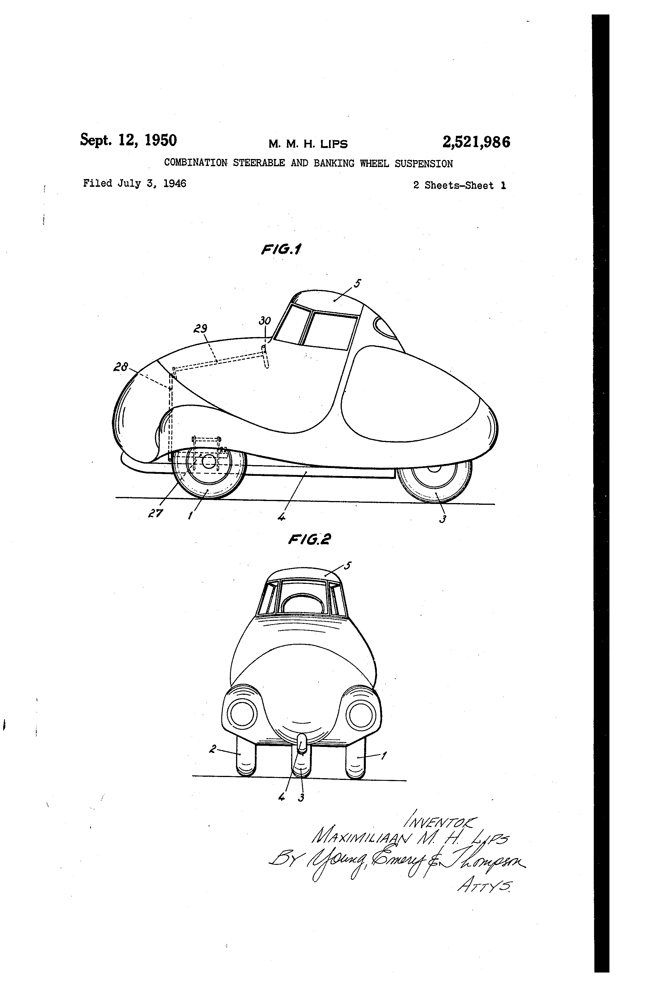 patent us2521986 bination steerable and banking wheel 05 Accord Lowered patent drawing