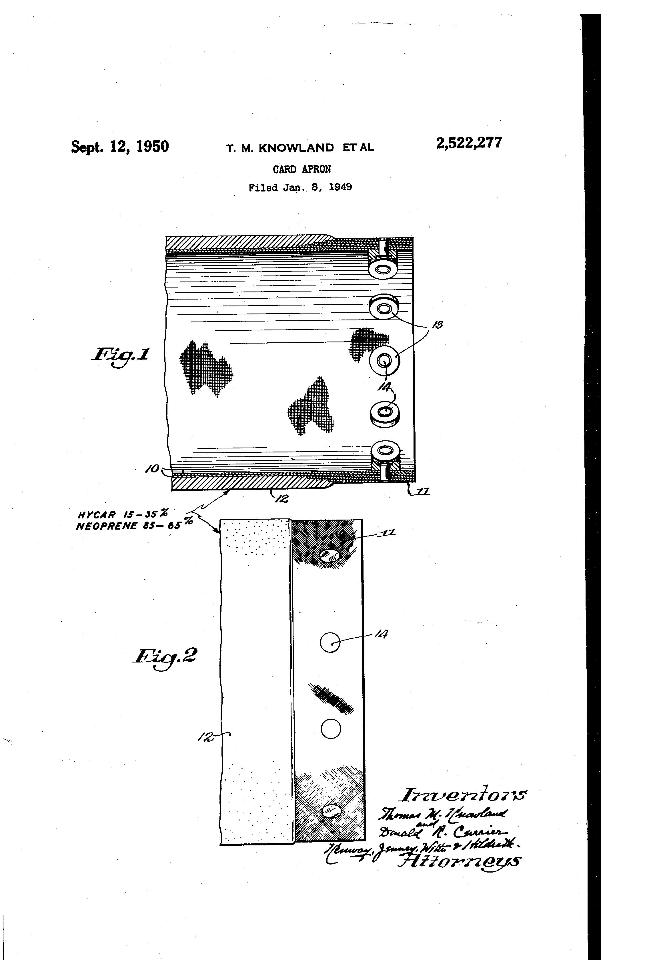 White neoprene apron - Patent Drawing