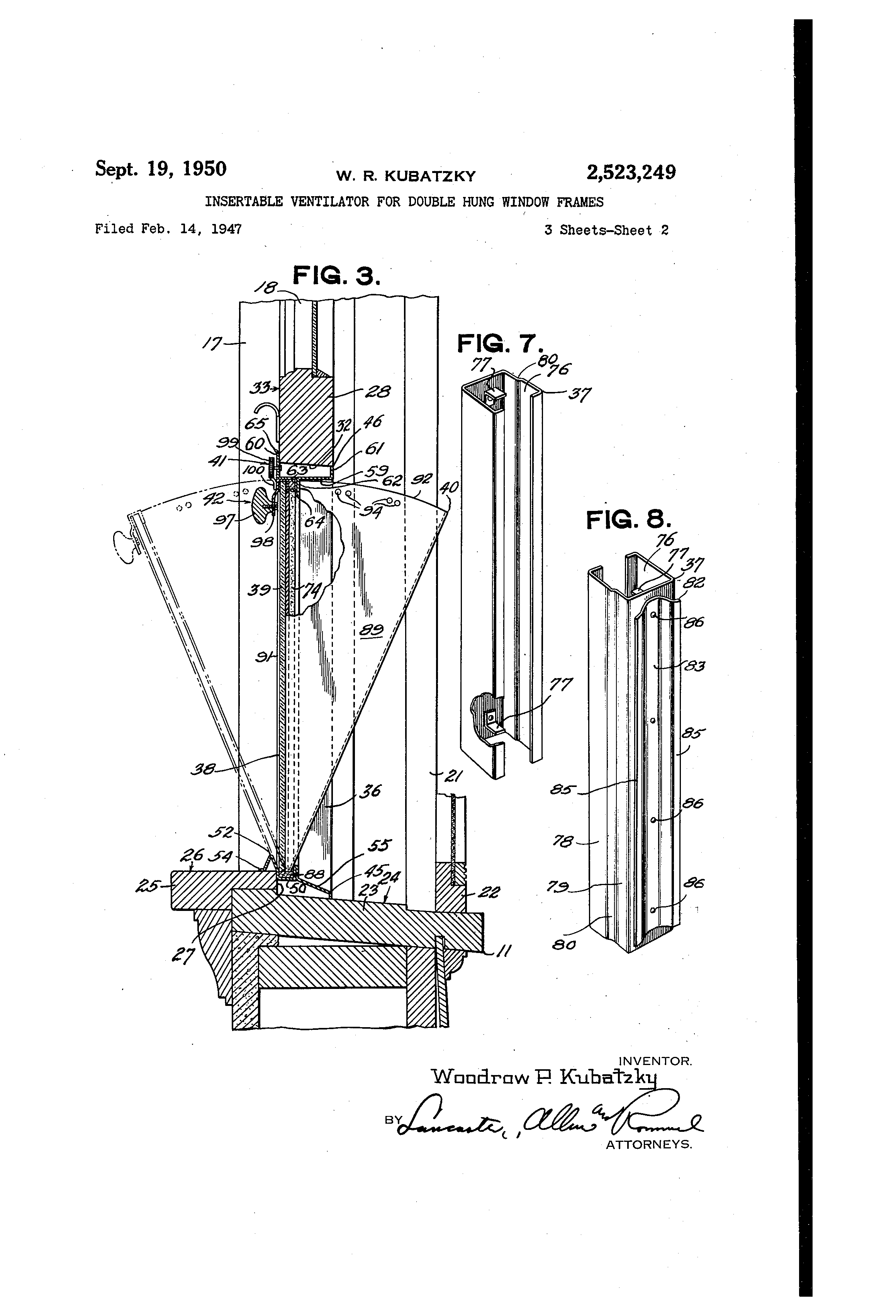 Us2523249 Insertable Ventilator For Double Hung Wiring Diagram Furthermore Telephone Jack Color Code Patent Drawing