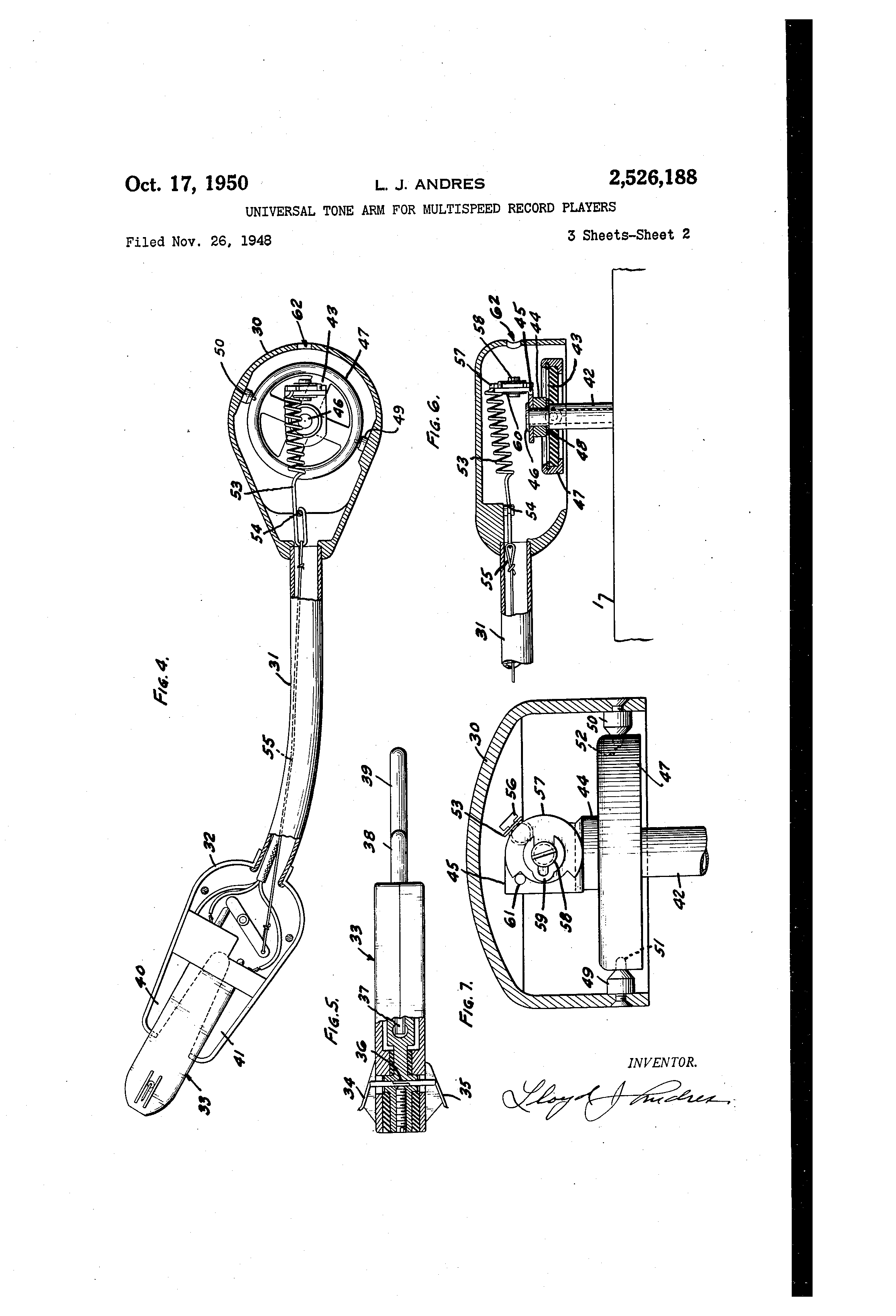 patent us2526188 universal tone arm for multispeed record players patents