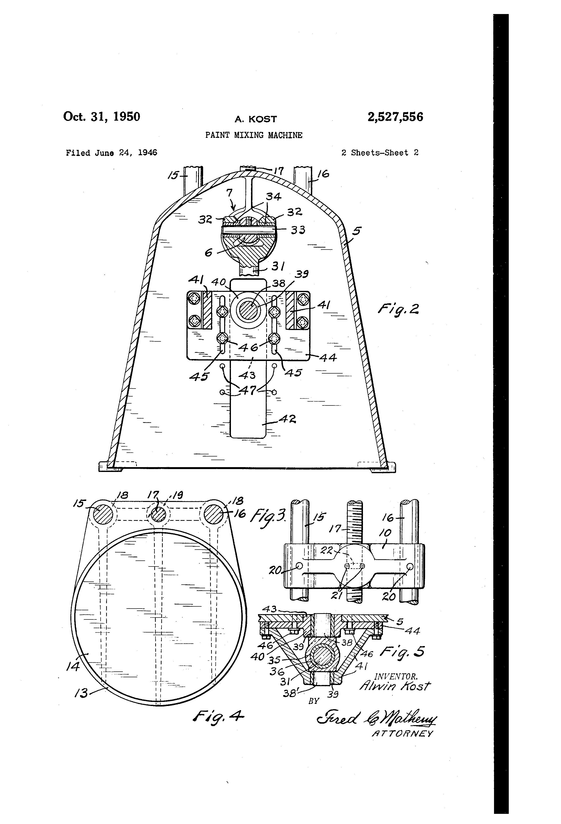 Brevet Us2527556 Paint Mixing Machine Google Brevets 2004 Lotus Esprit Wiring Diagram Patent Drawing