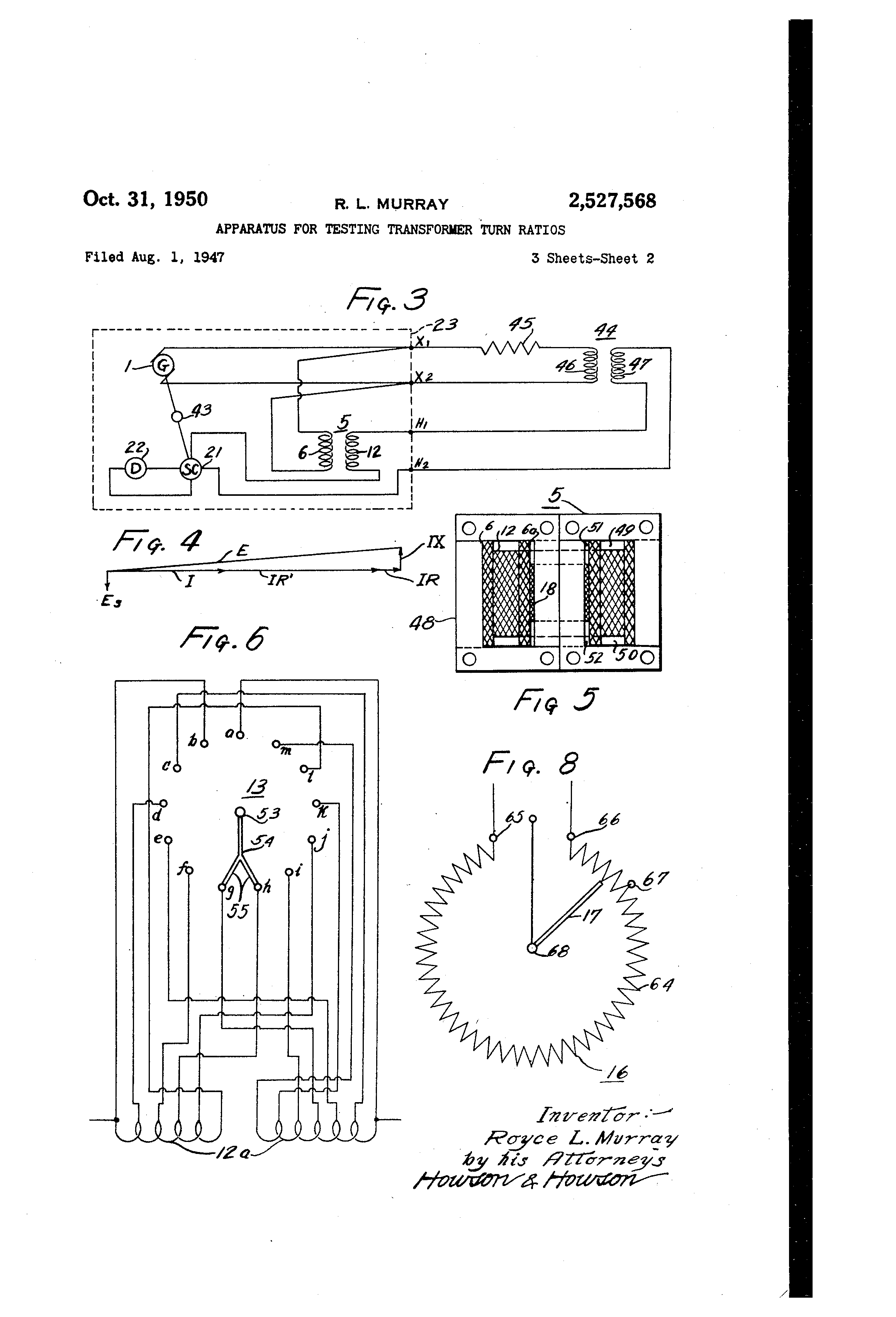 Patent Us2527568 Apparatus For Testing Transformer Turn Ratios Fig 4 Calculating Secondary Short Circuit Current Drawing