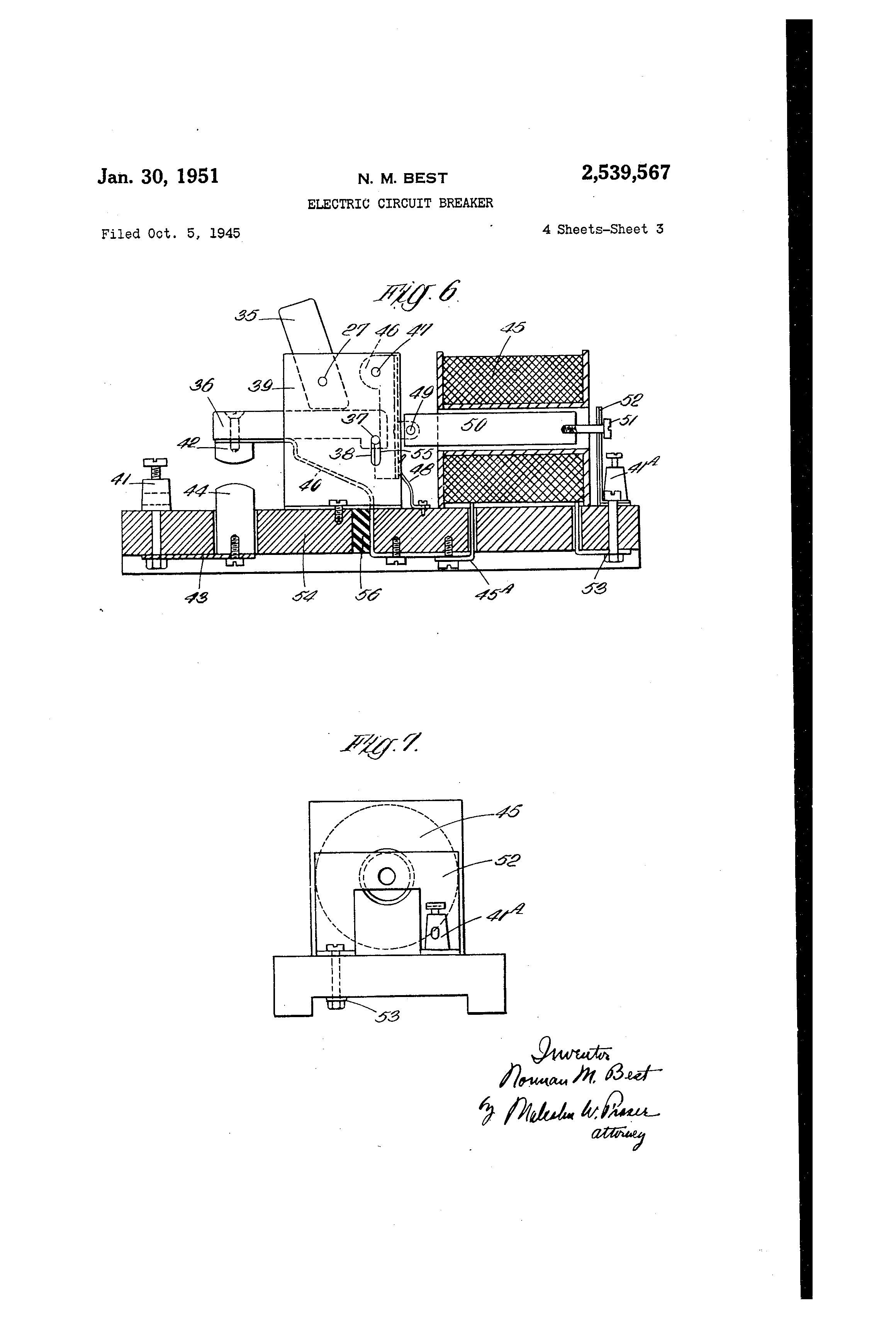 patent us2539567 - electric circuit breaker