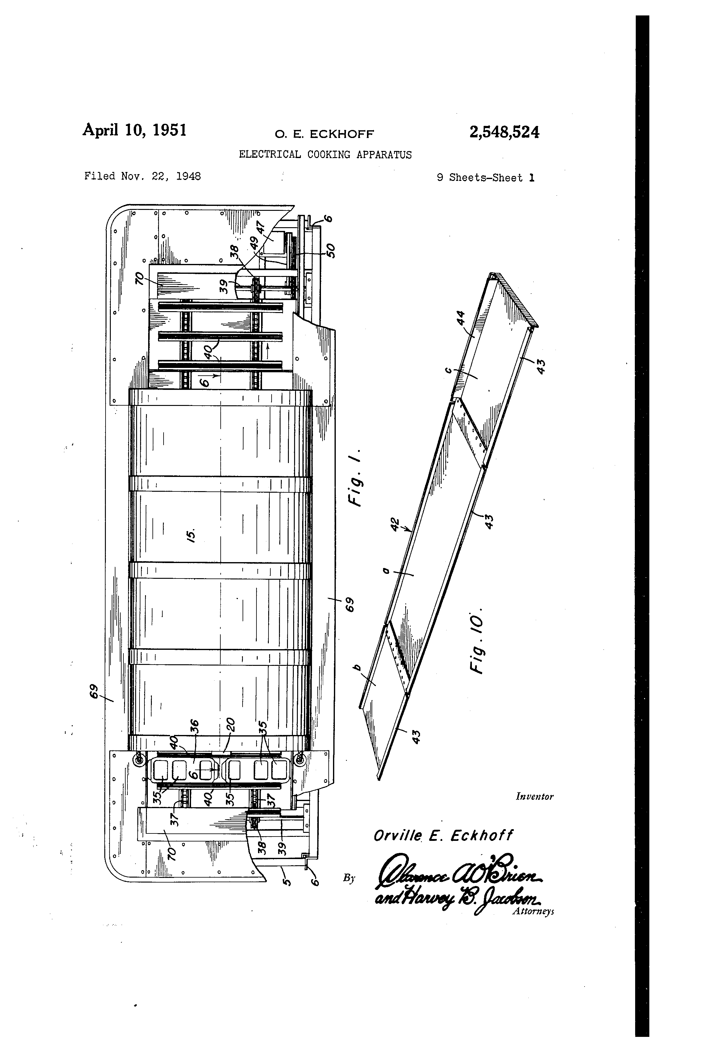 Patent Us2548524 Electrical Cooking Apparatus Google Patents Merco Wiring Diagrams Drawing