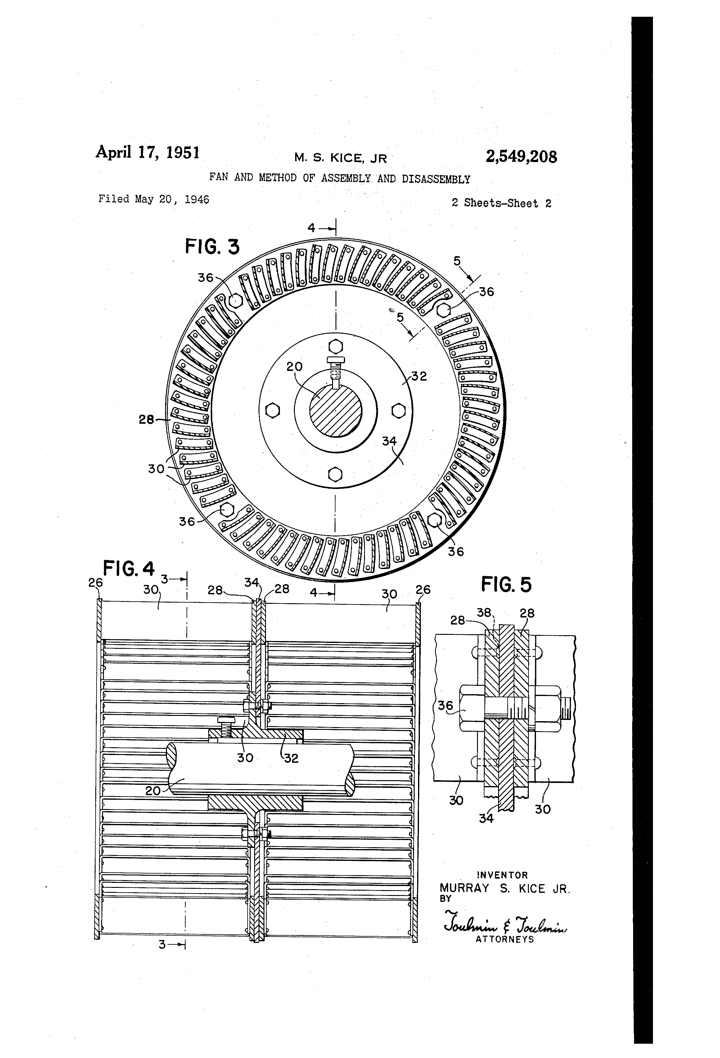 Patent Us2549208 Fan And Method Of Assembly Disassembly Drawing