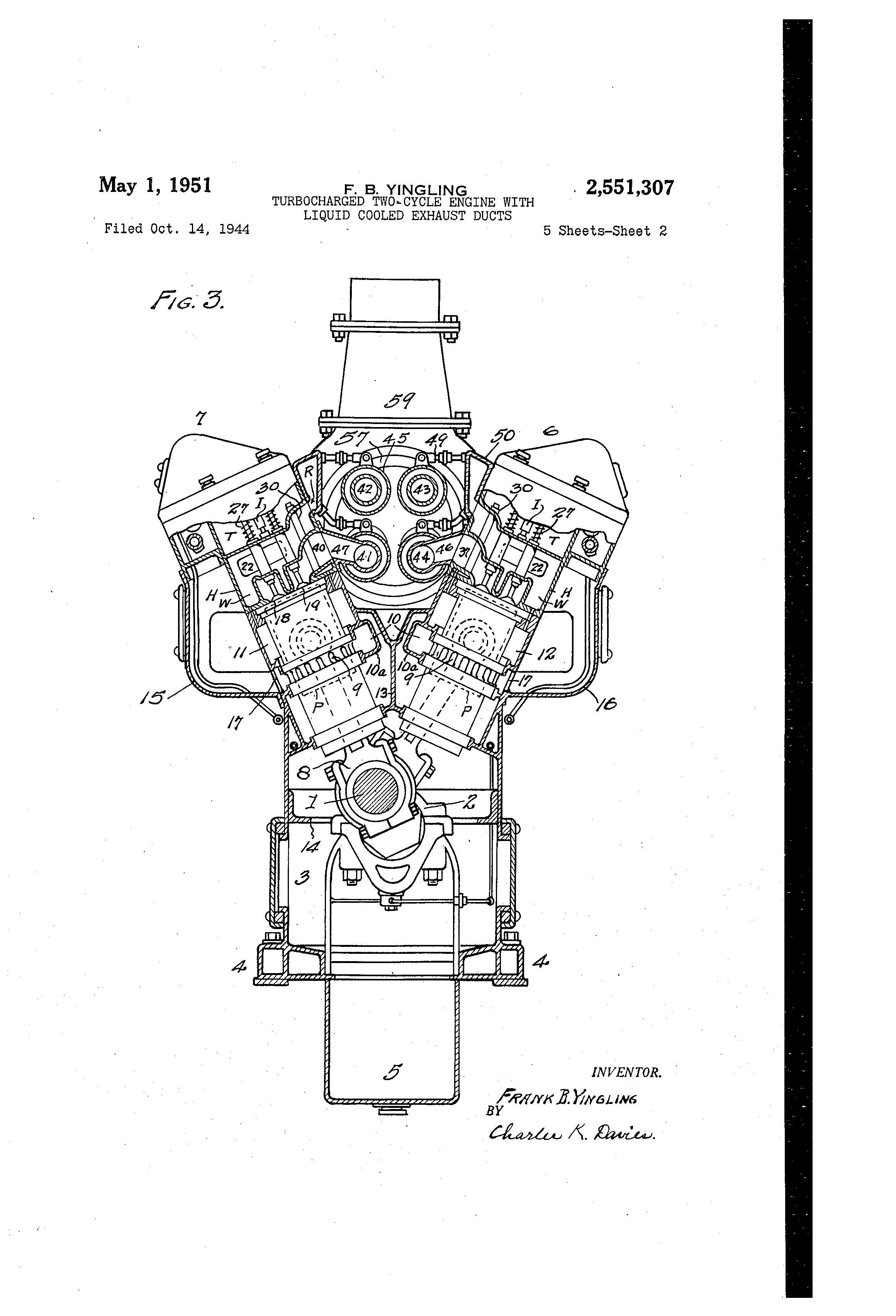 Brevet Us2551307 Turbocharged Two Cycle Engine With Liquid Cooled Stroke Diagram Patent Drawing
