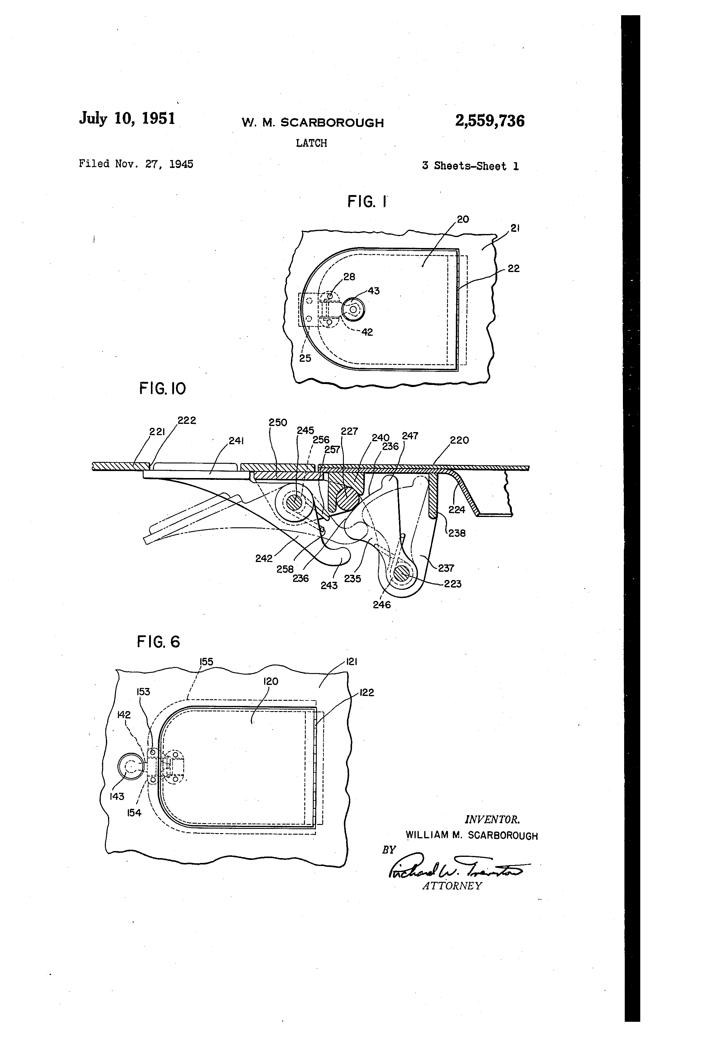 patent us2559736 latch patents 1947 Ford Hood Latch patent drawing