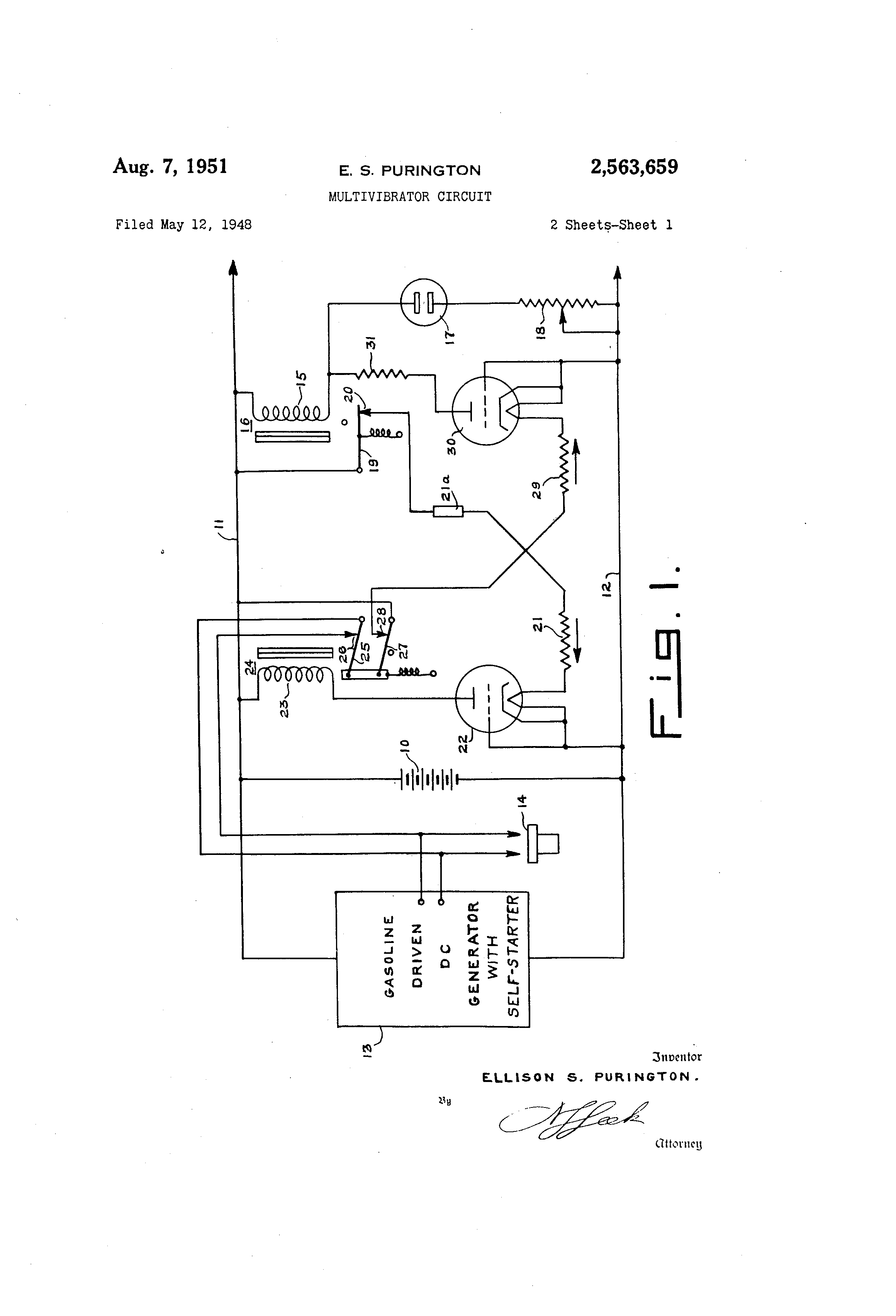 Patent Us2563659 Multivibrator Circuit Google Patents Monostable Drawing