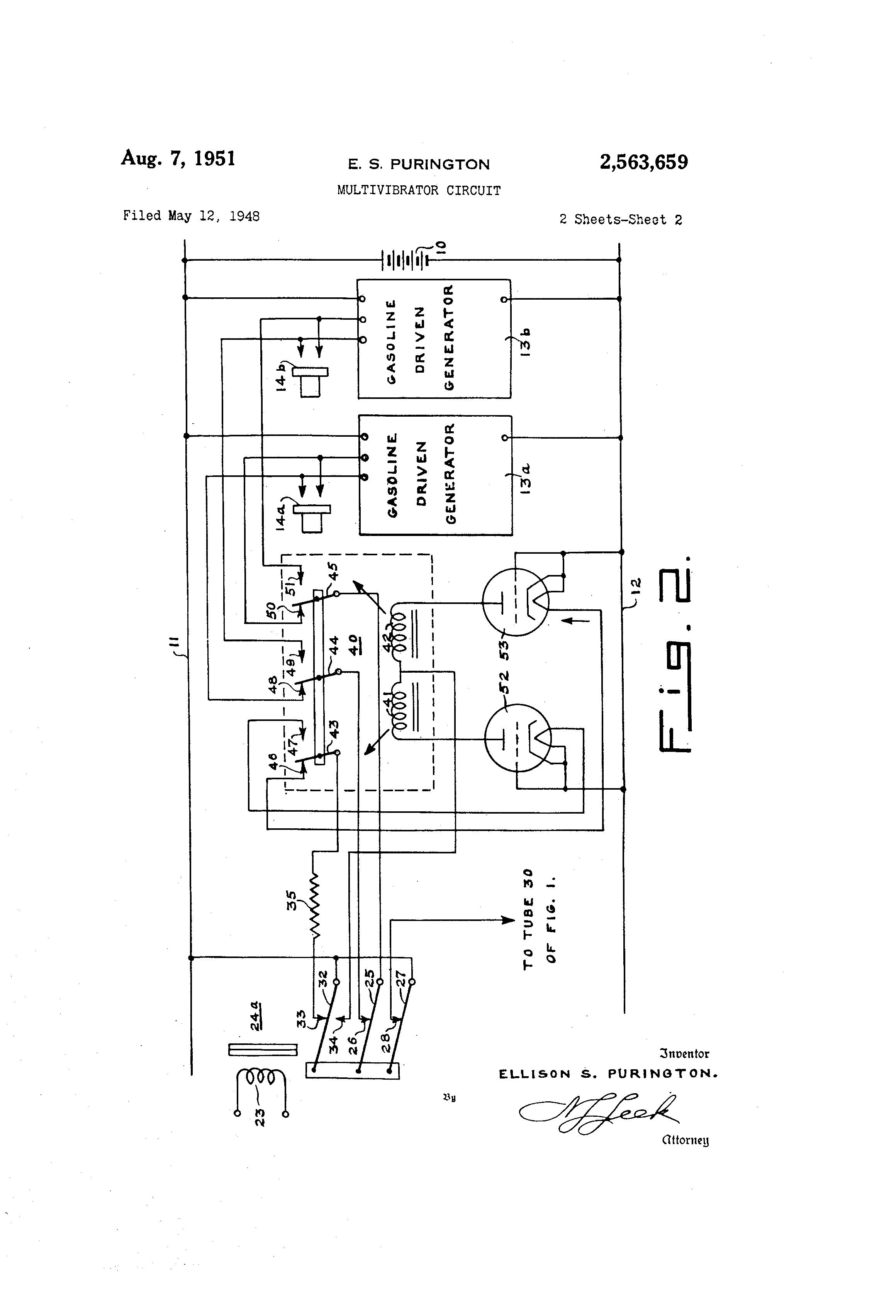 Patent Us2563659 Multivibrator Circuit Google Patents Monostable Drawing