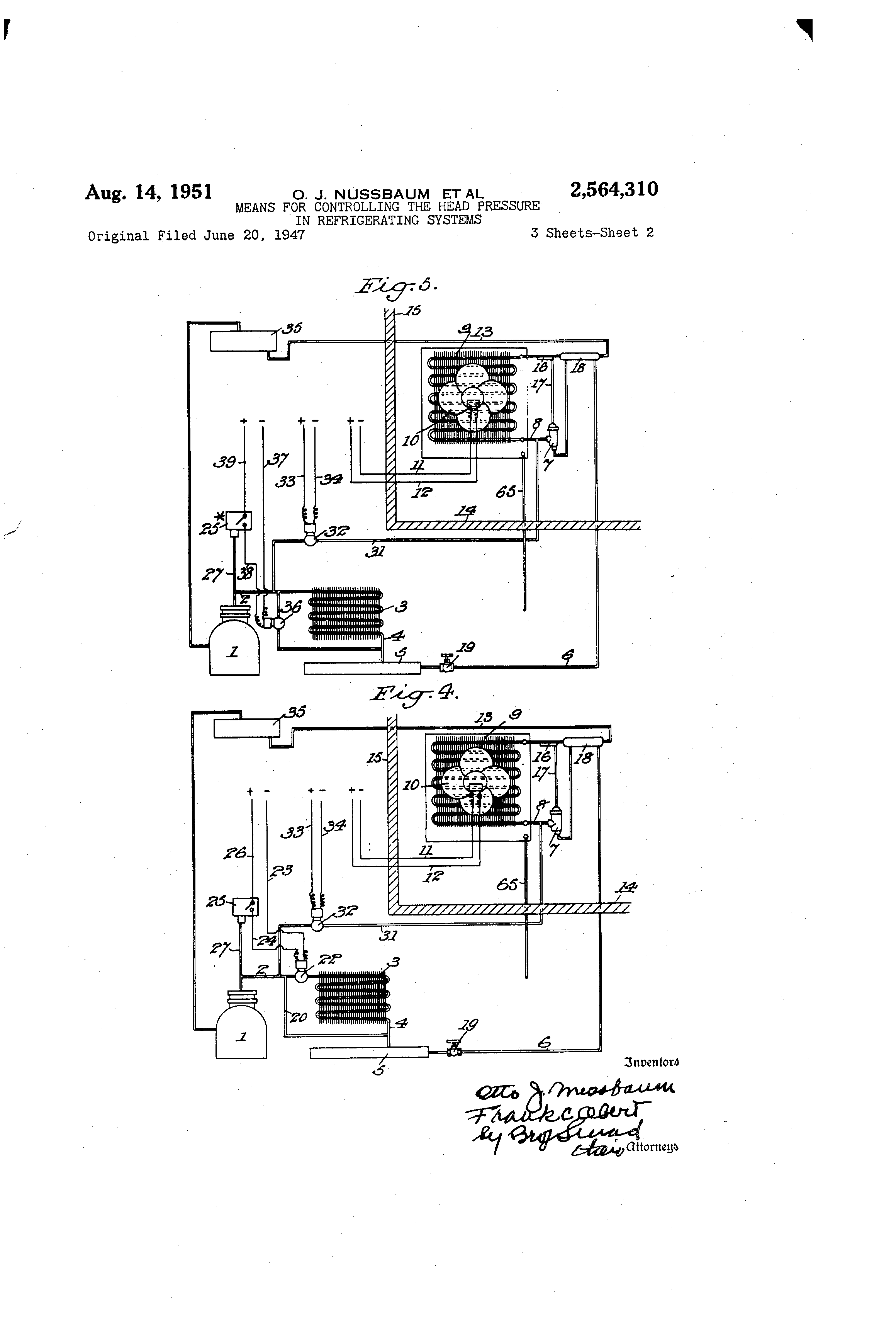 Patent Us2564310 Means For Controlling The Head Pressure In Keeprite Refrigeration Units Wiring Diagram Drawing