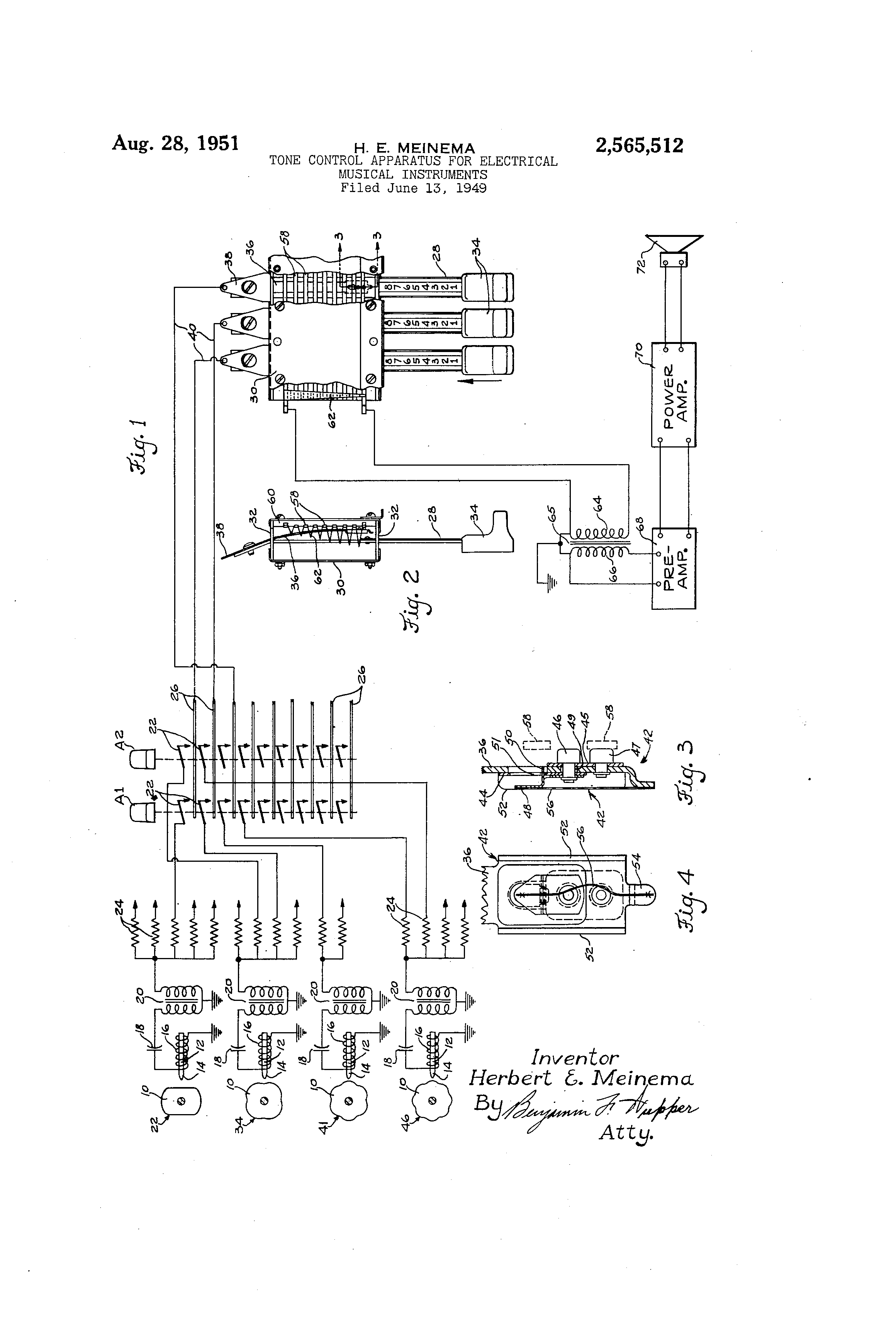 Patent Us2565512 Tone Control Apparatus For Electrical Musical Circuit Passive Instruments Us 2565512 A Abstract Available In Images1