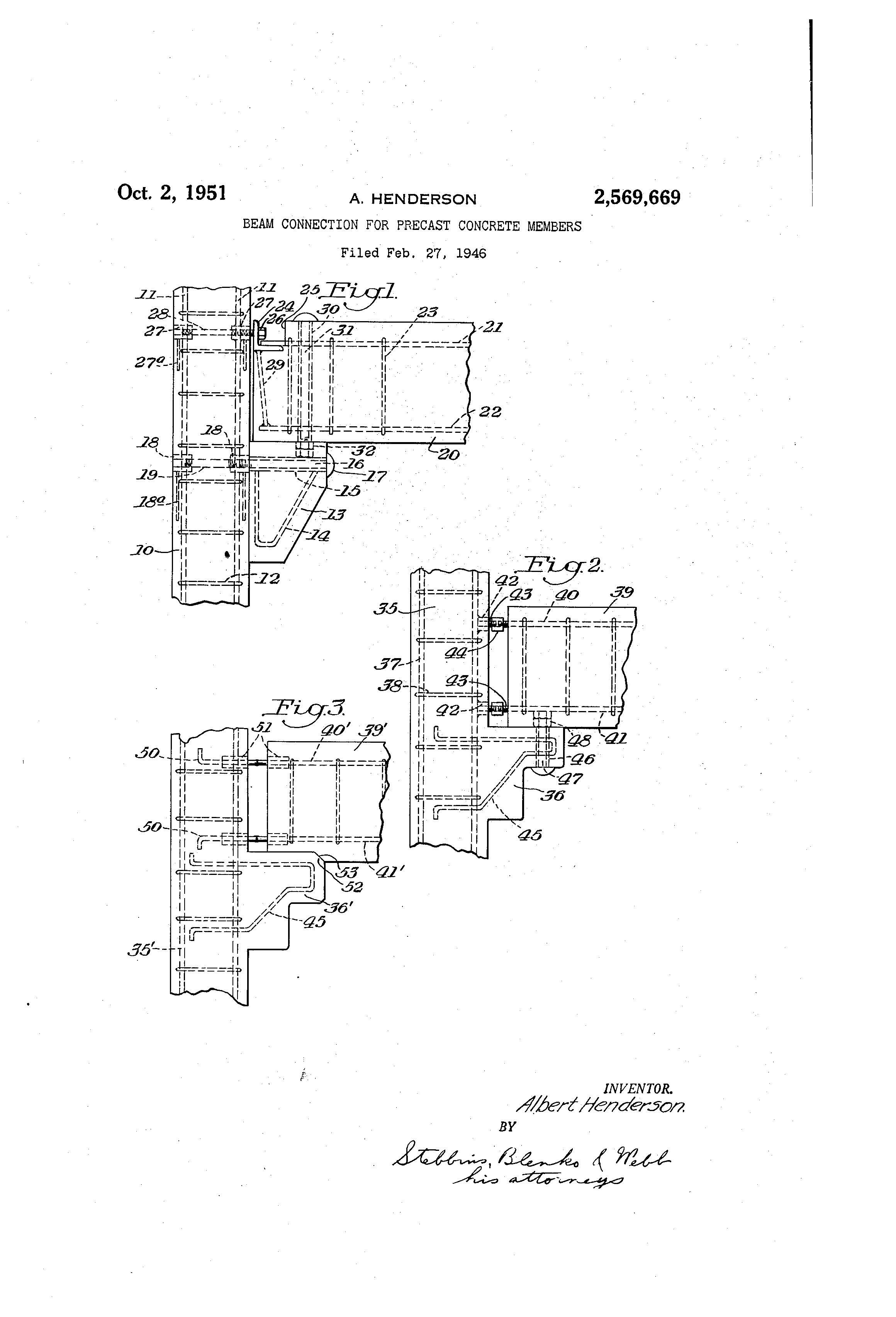 Precast Concrete Brackets : Patent us beam connection for precast concrete