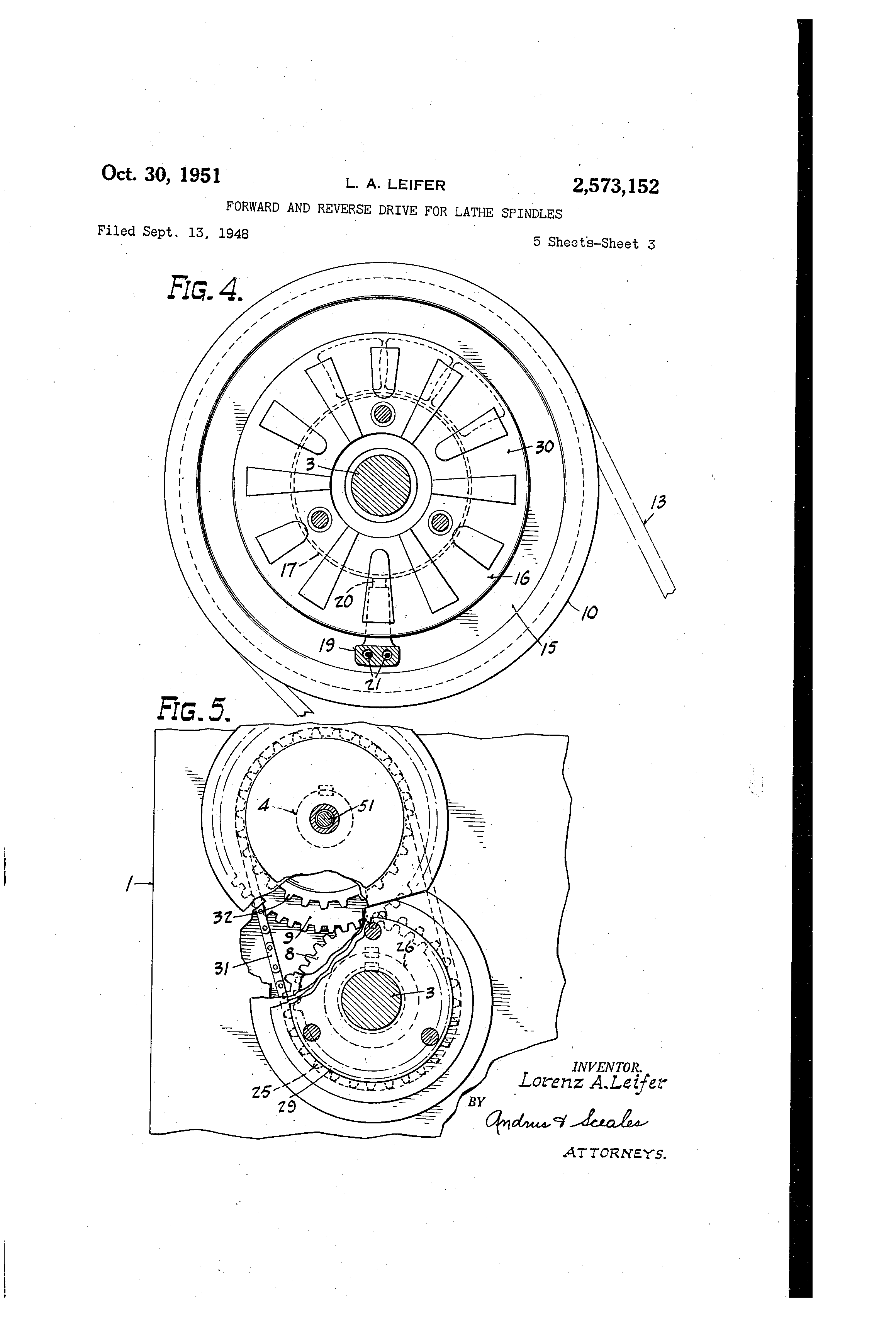 patent us2573152 - forward and reverse drive for lathe spindles
