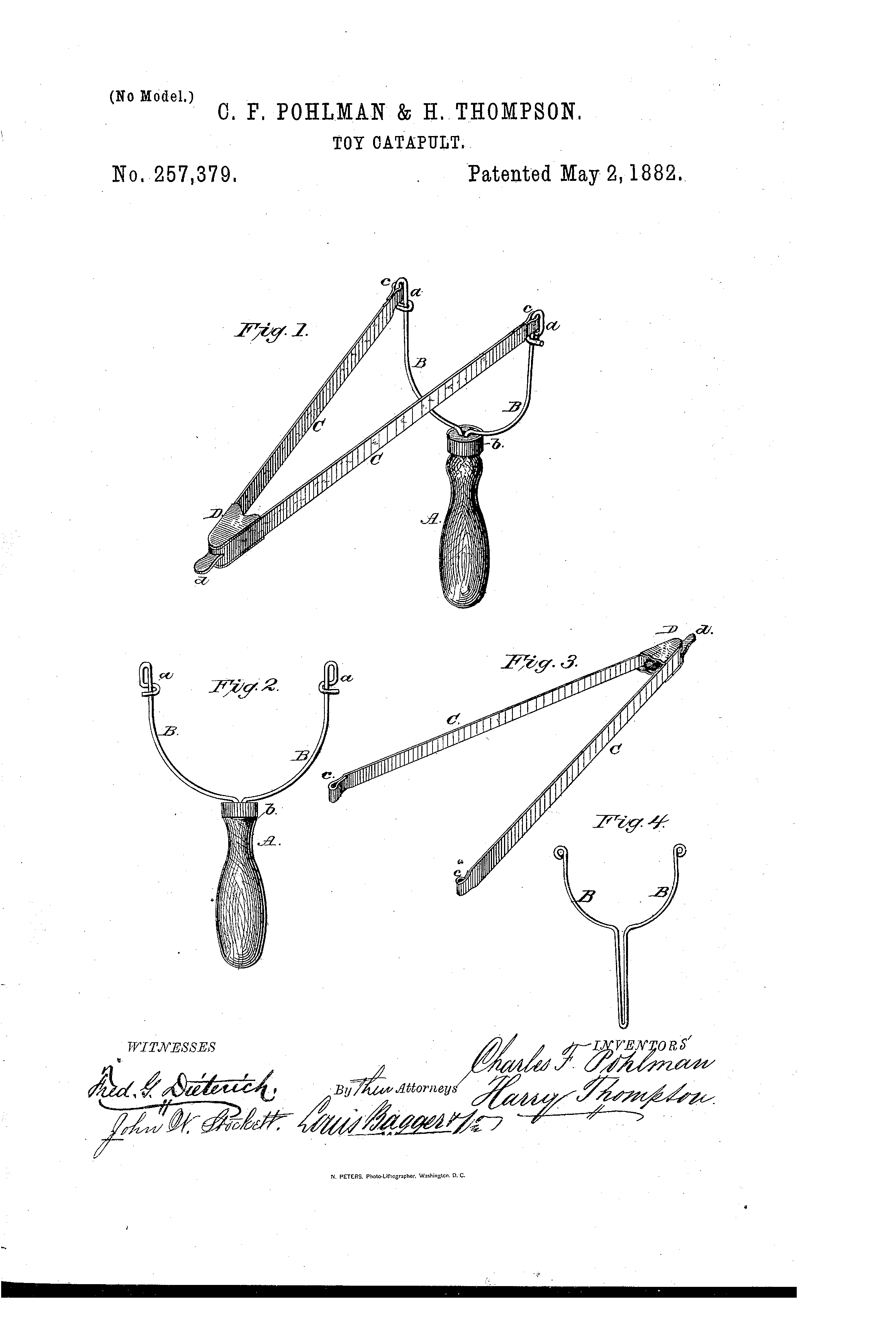 Brevet Us257379 Toy Catapult Google Brevets Diagram Of A Patent Drawing