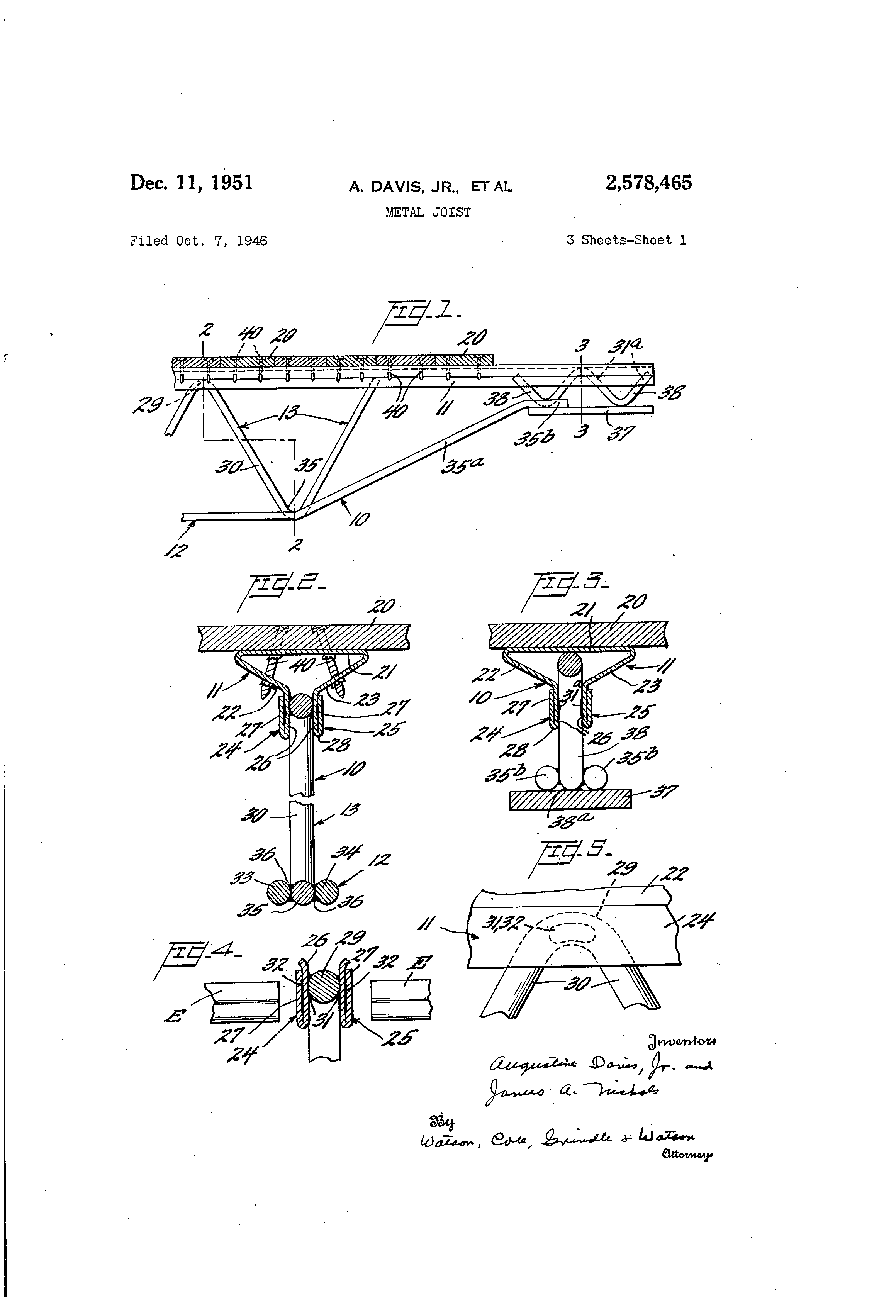 Patent Us2578465 Metal Joist Google Patents