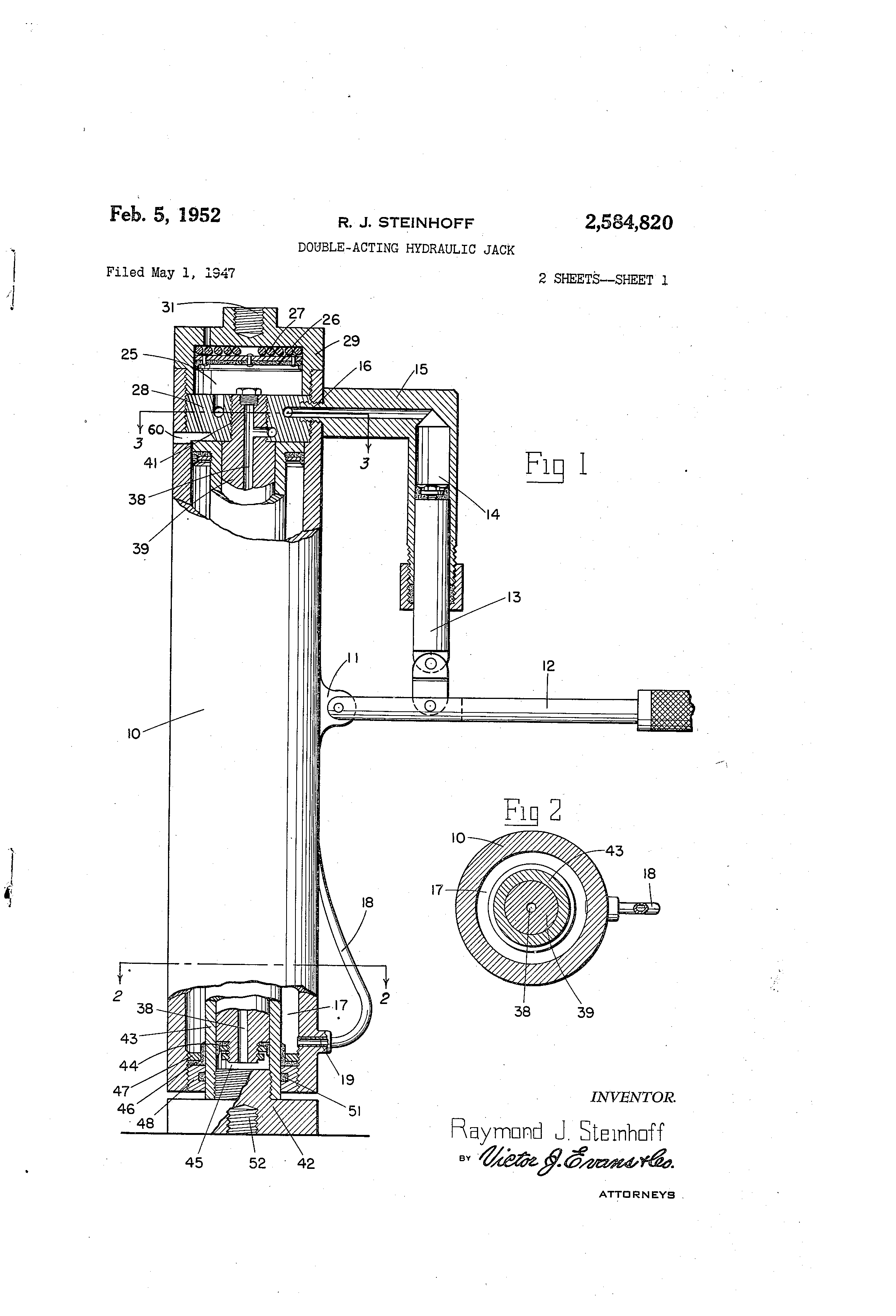 Patent Us2584820 Double Acting Hydraulic Jack Google Patents Diagram Drawing