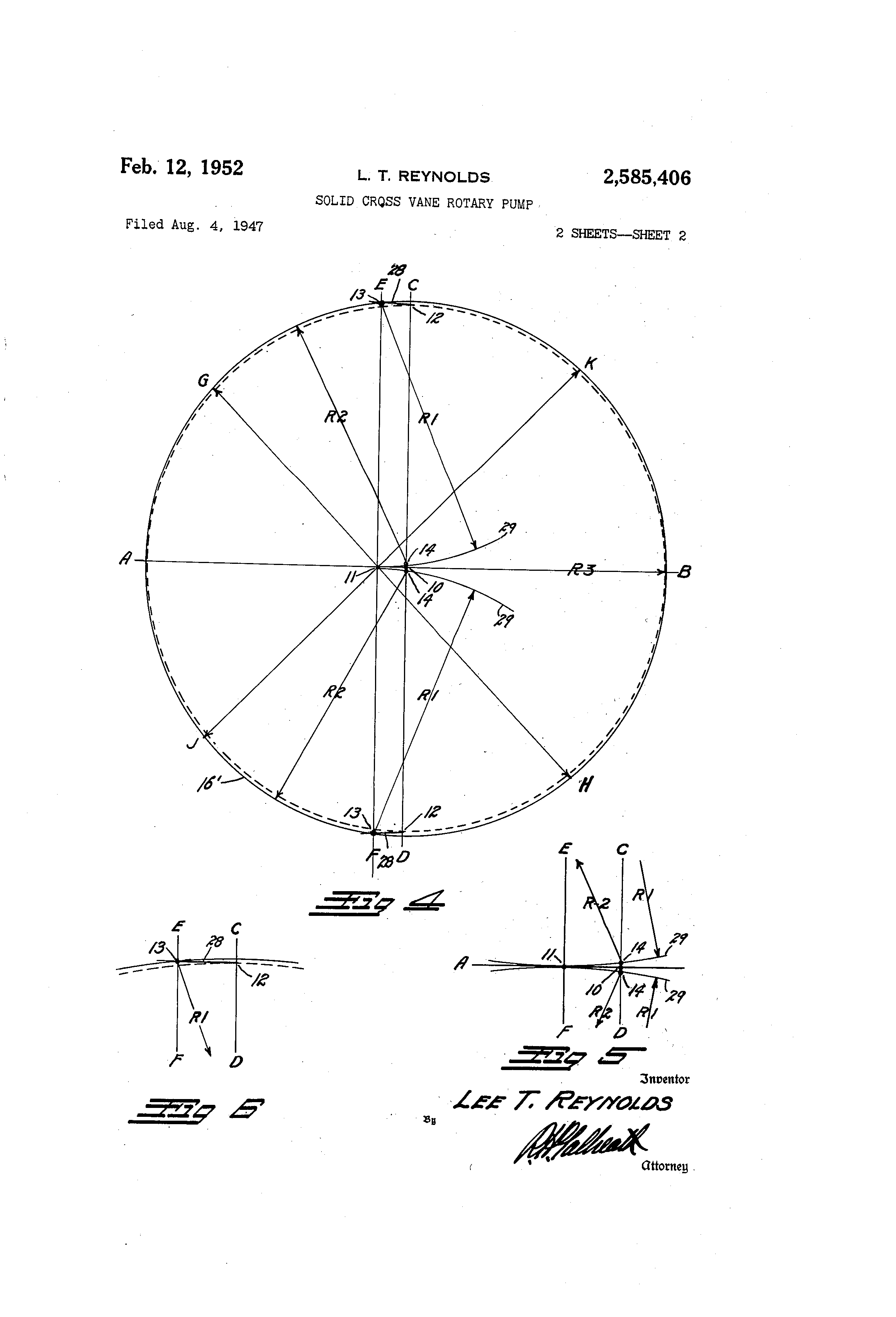 patent us2585406 - solid cross vane rotary pump
