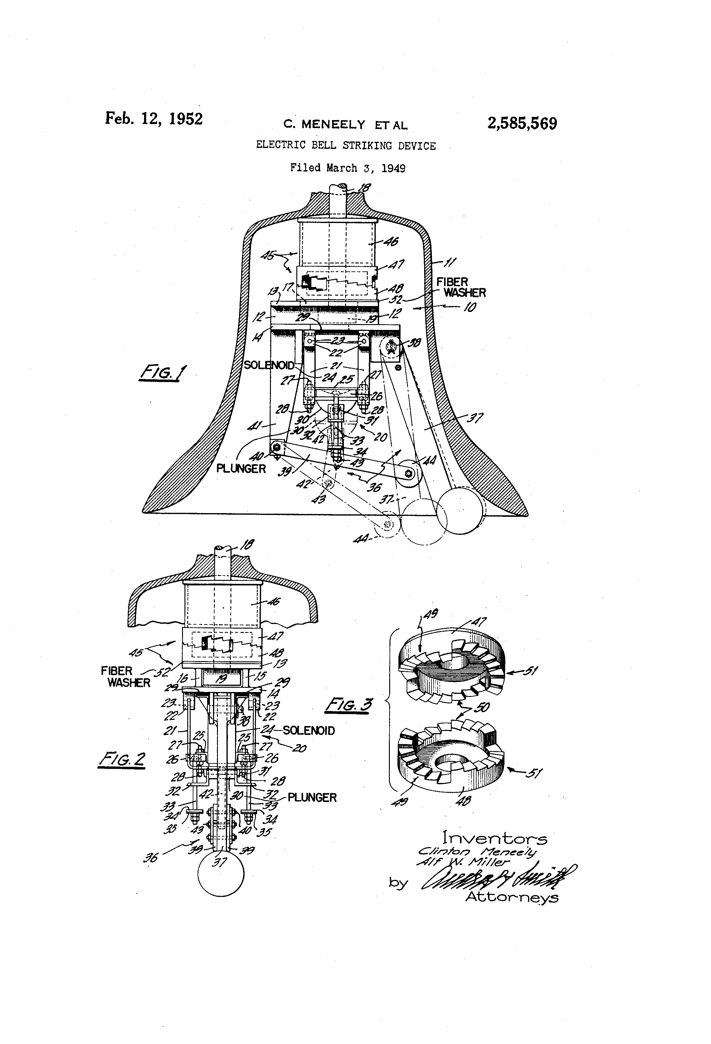 patent us2585569 - electric bell striking device