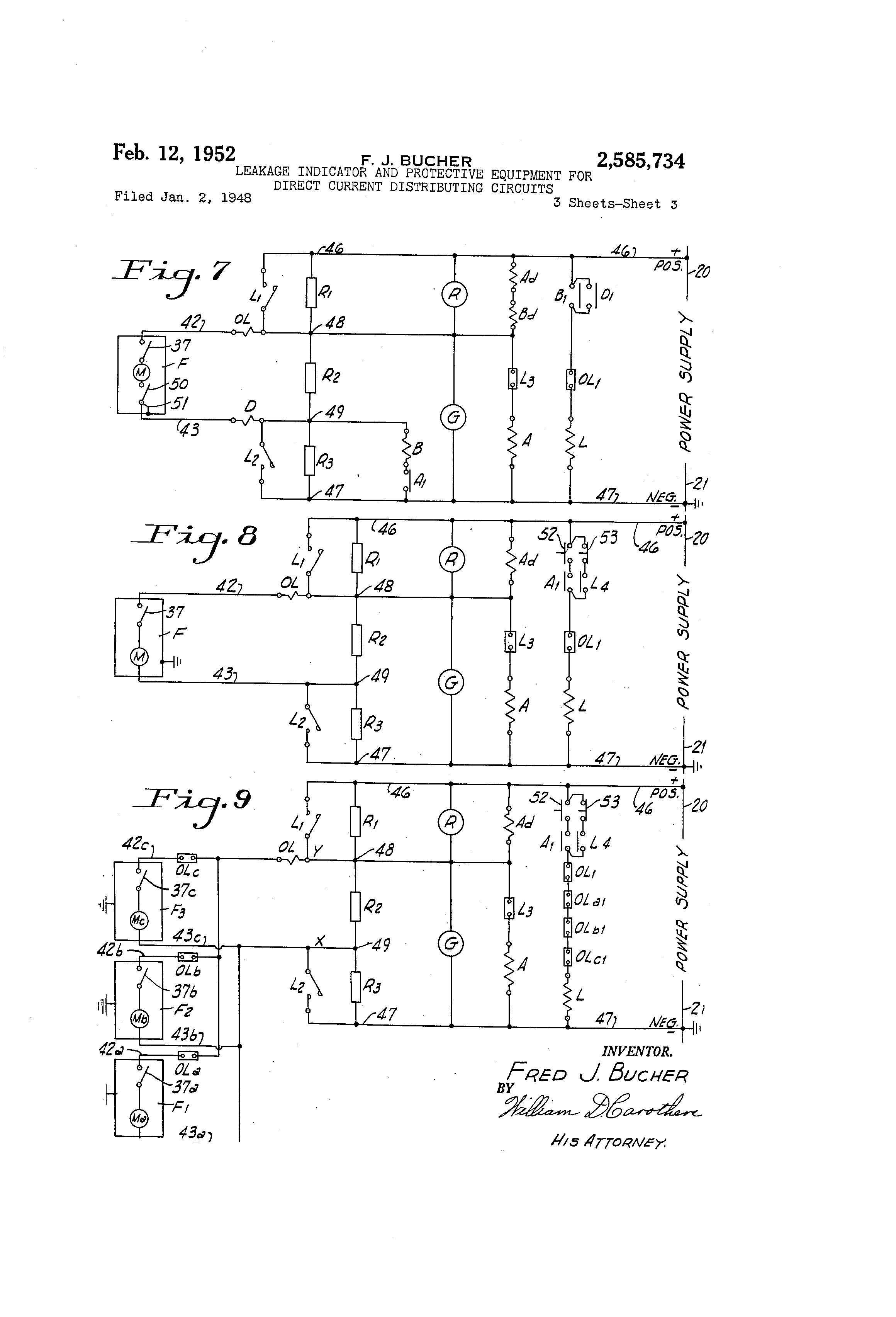 Patent Us2585734 Leakage Indicator And Protective Equipment For Fig 3 Only Feeder Or Branch Circuit Conductors Can Be Attached To Drawing