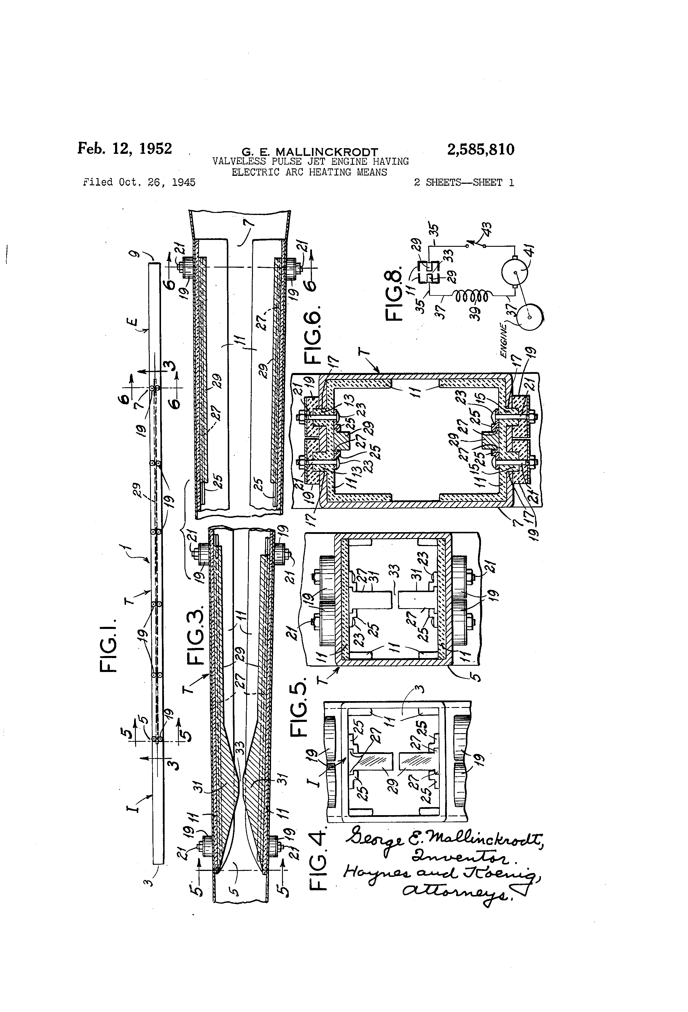 patent us2585810 - valveless pulse jet engine having electric arc heating means