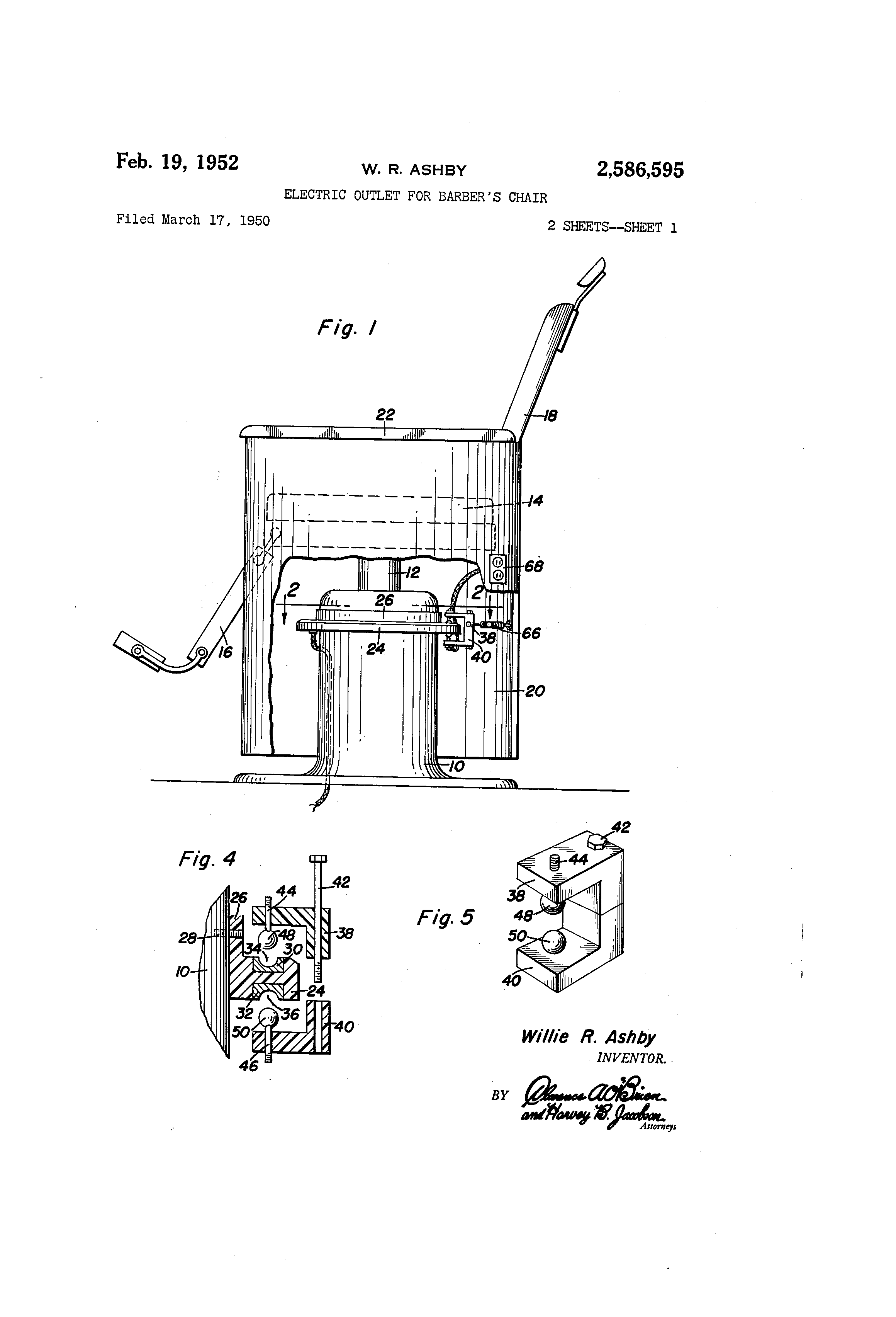 Patent us2586595 electric outlet for barber s chair google patents
