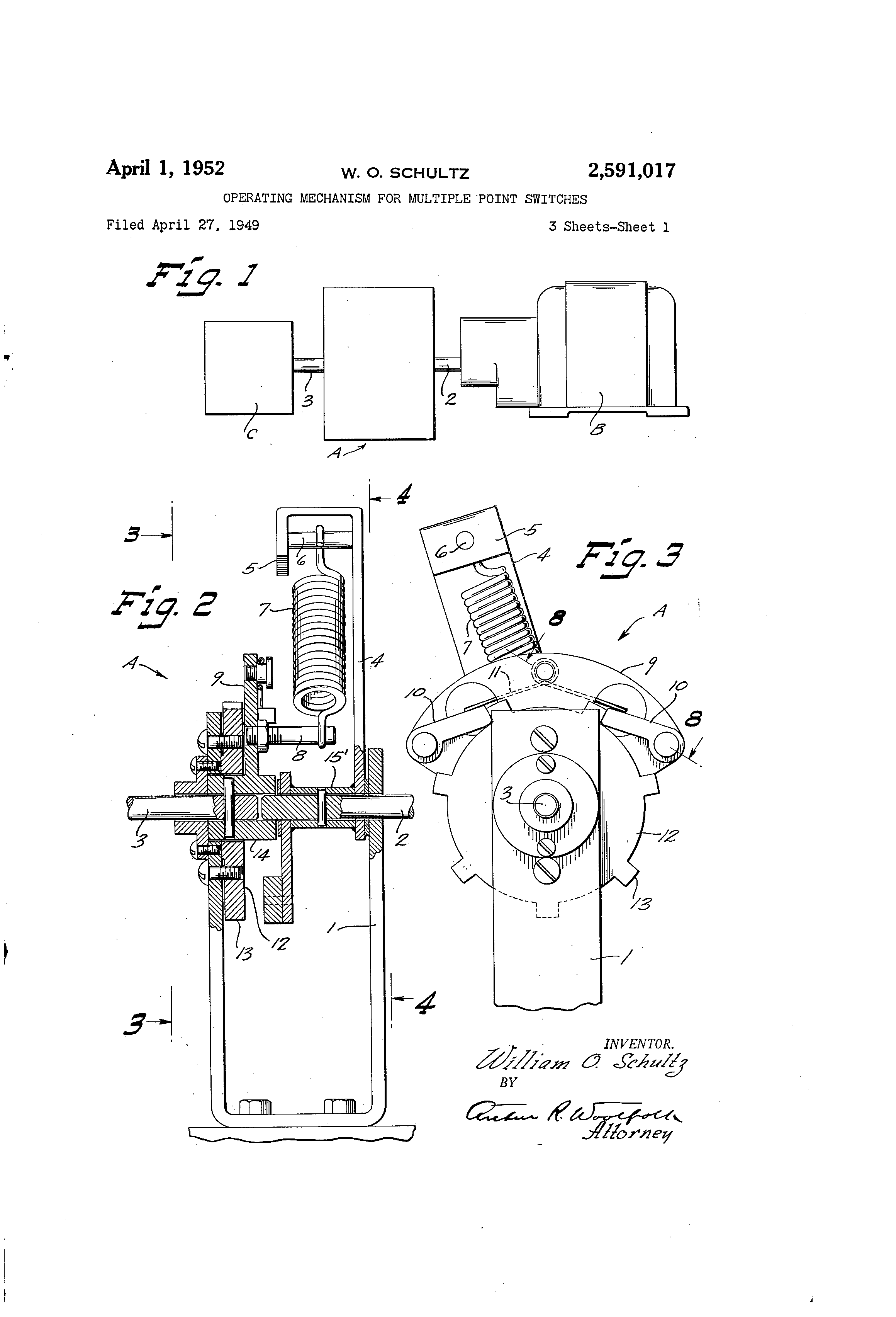 patent us2591017 - operating mechanism for multiple point switches