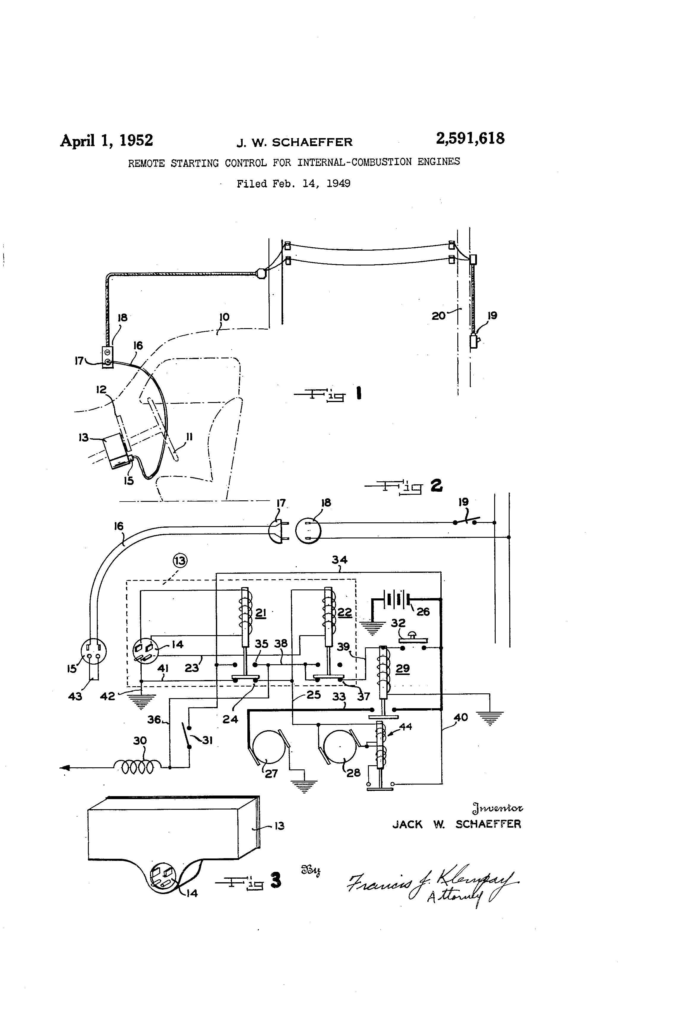 Motors Google Patents On Universal Electric Motor Wiring Diagram Patent Us2591618 Remote Starting Control For Internal Combustion