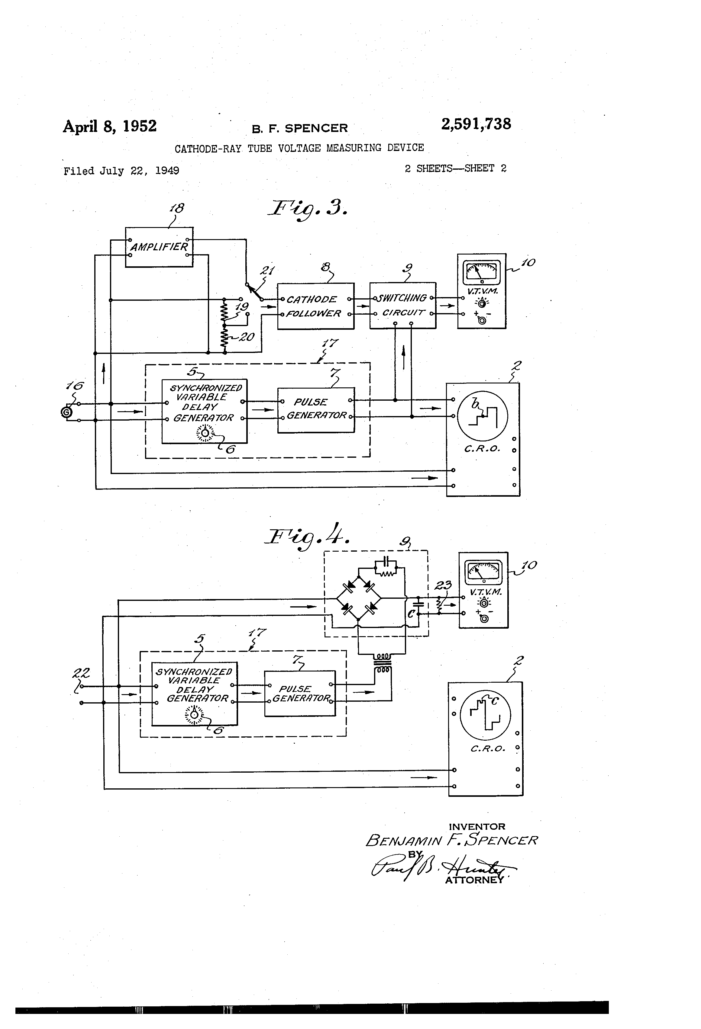 Patent Us2591738 Cathode Ray Tube Voltage Measuring Device Diagram Drawing