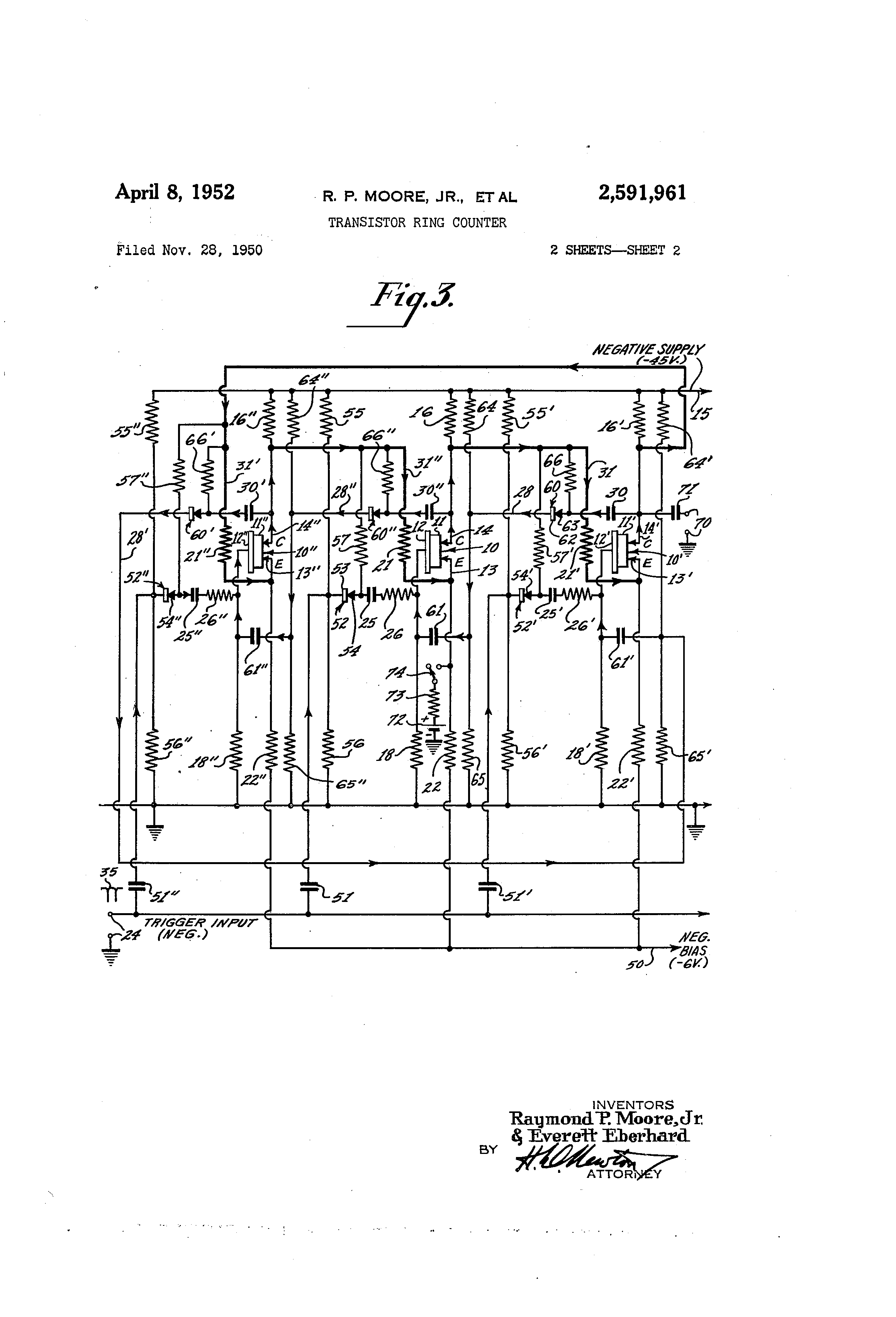 Patent Us2591961 Transistor Ring Counter Google Patents Transistors Zero Or Lowcurrent Voltage Divider For Switch Drawing