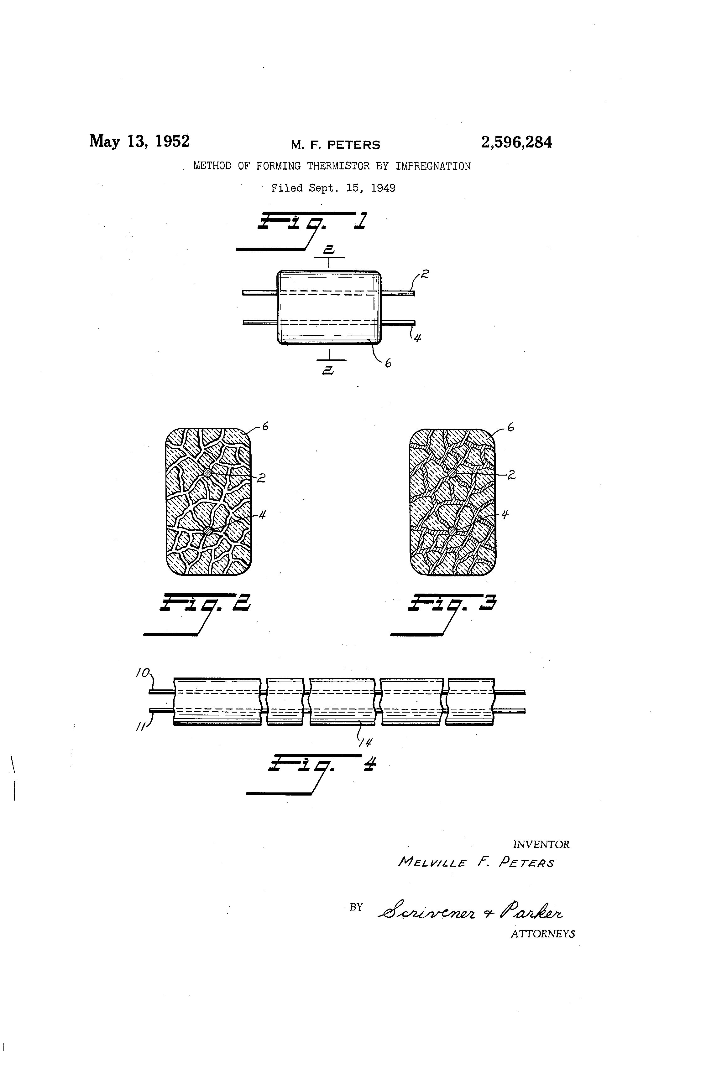 Patent Us2596284 Method Of Forming Thermistor By Impregnation Thermistors Wiring In Parallel Drawing