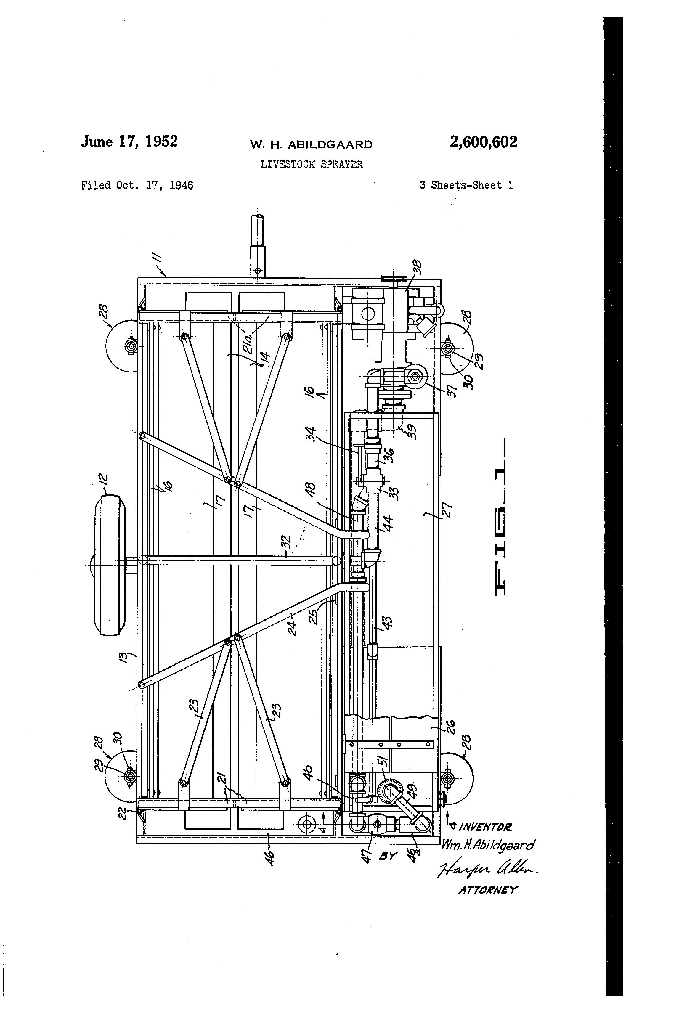 US2600602 0 cattle sprayer google patents on 6 way trailer wiring diagram cattle