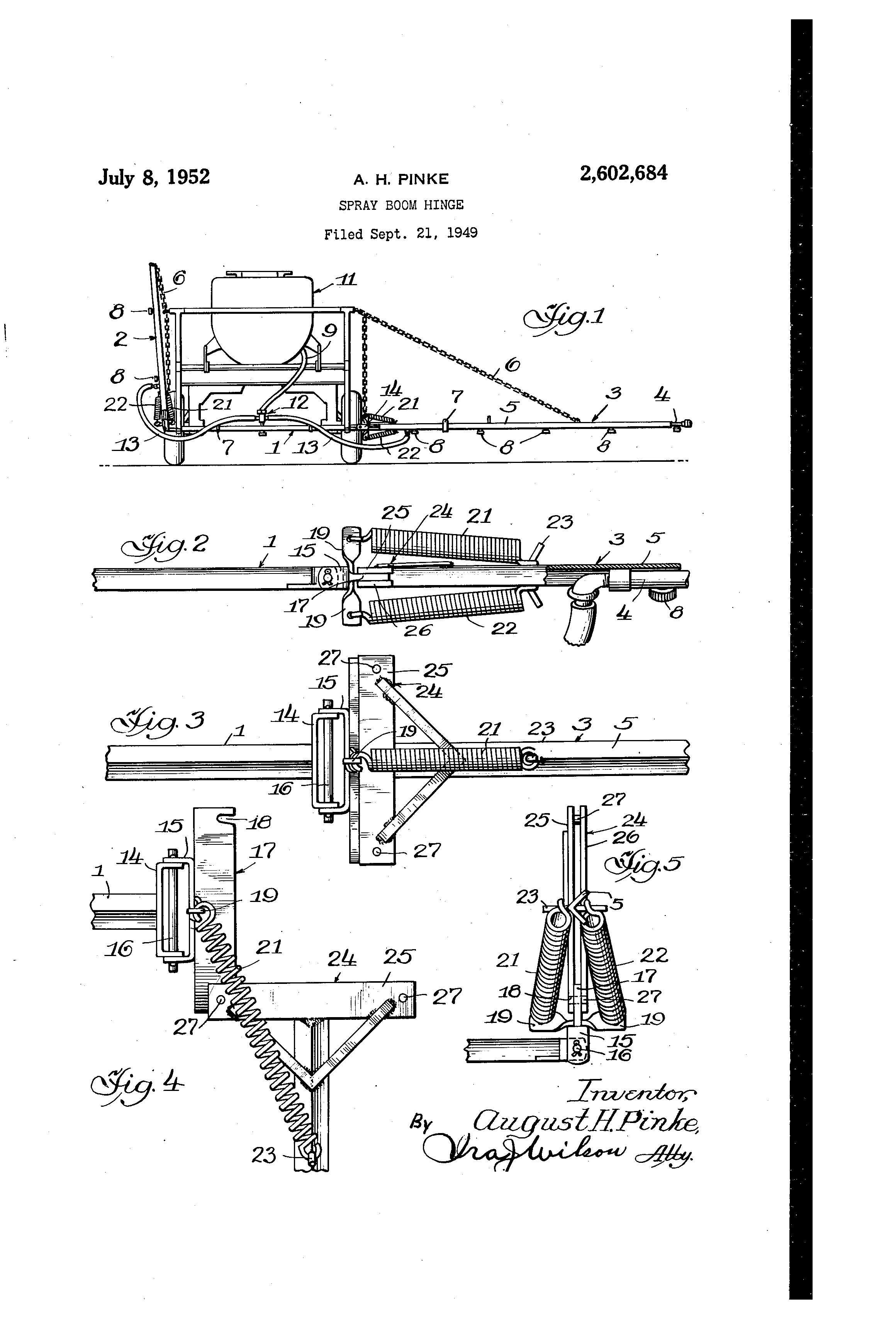 Patent US2602684 - Spray boom hinge - Google Patents