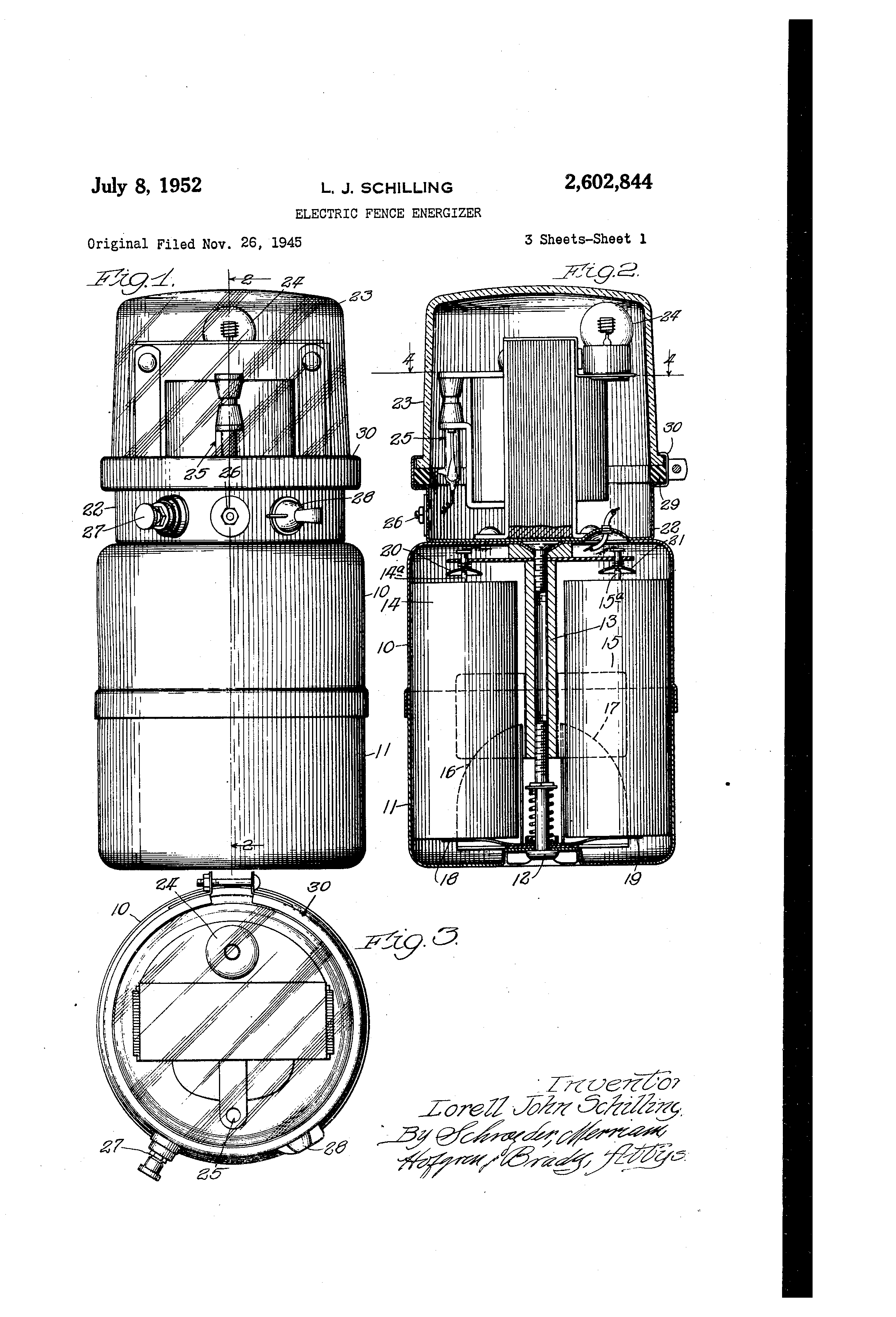 patent us2602844 - electric fence energizer