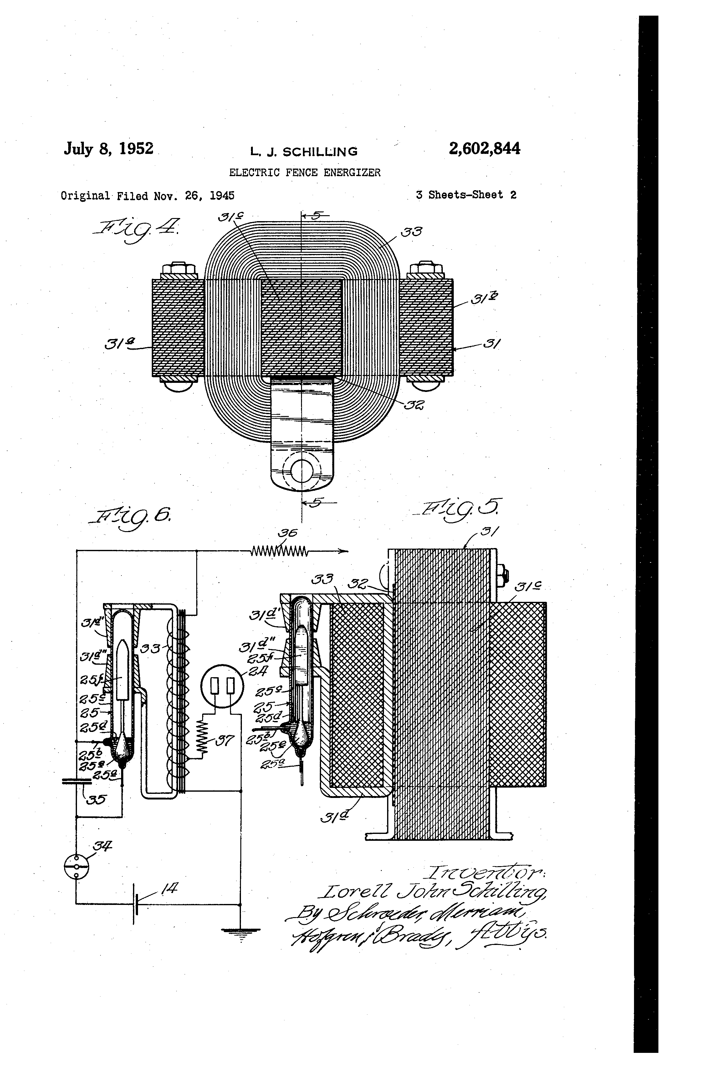 Sing El Wire Electric Fence Circuit Diagram Wiring Library Schematic On For Patent Drawing Us2602844