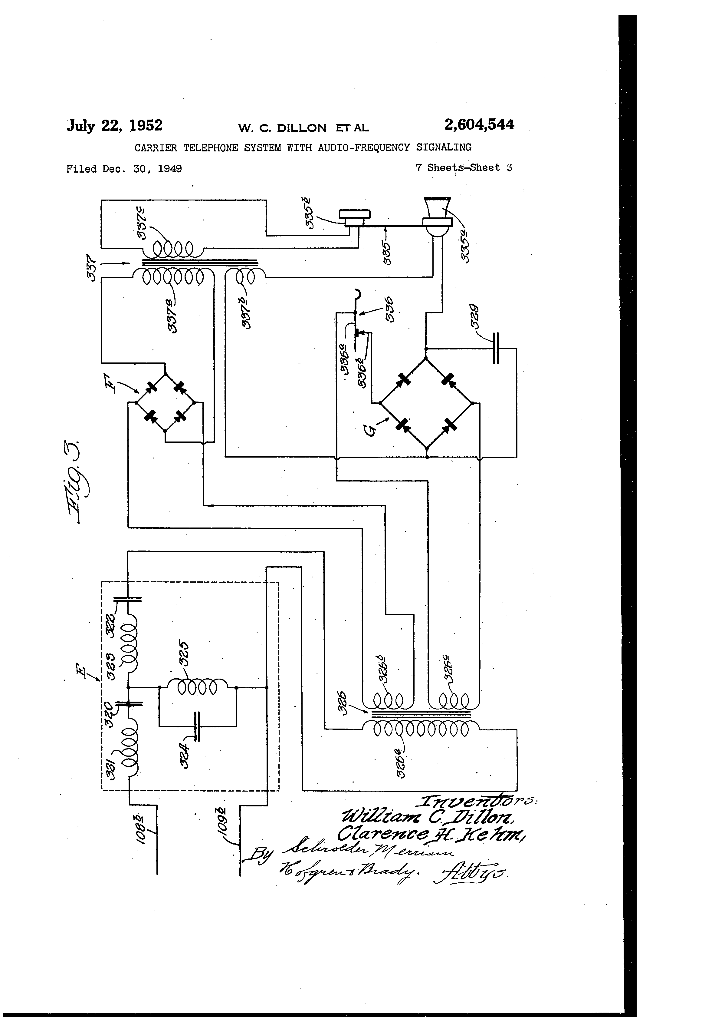patent us2604544 - carrier telephone system with audio-frequency signaling