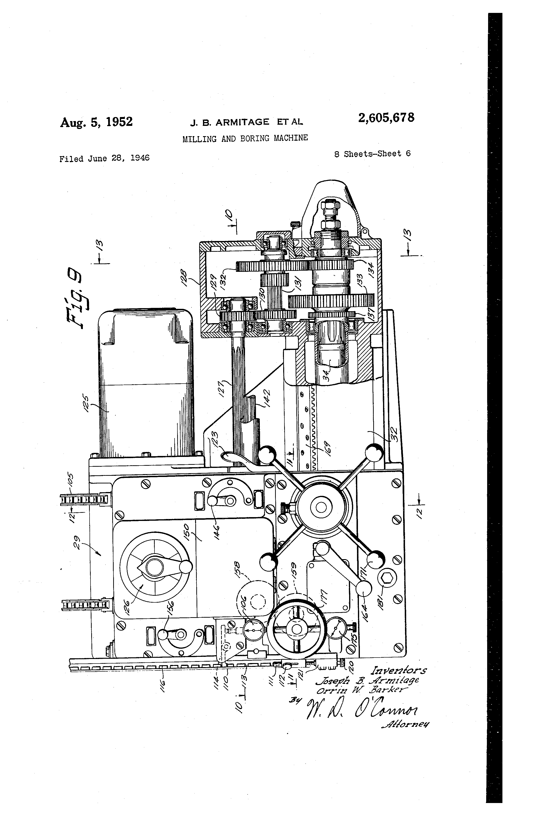 Patent Us2605678 Milling And Boring Machine Google Patenten The Hydraulic Pressure Control Circuit Controlcircuit Drawing