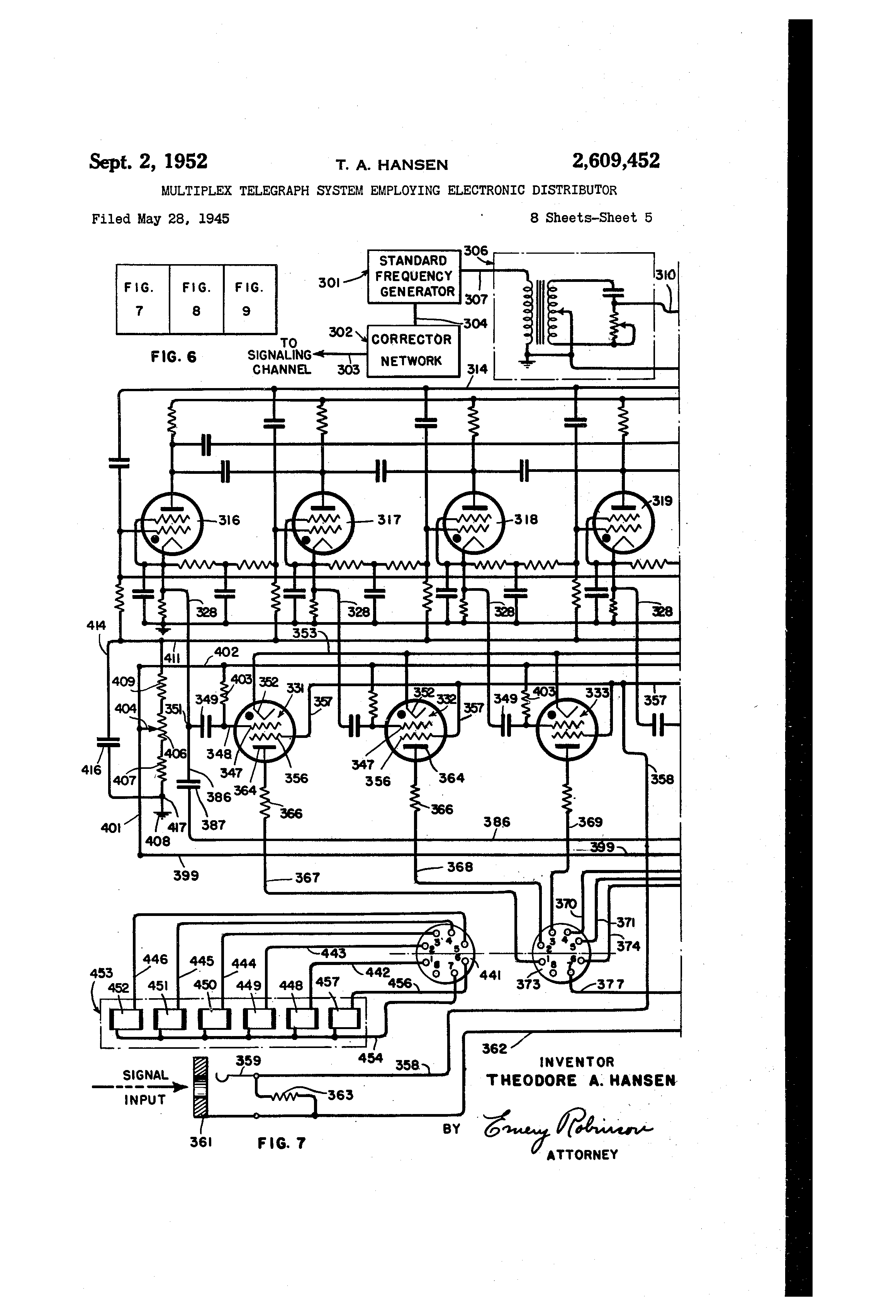 Patent Us2609452 Multiplex Telegraph System Employing