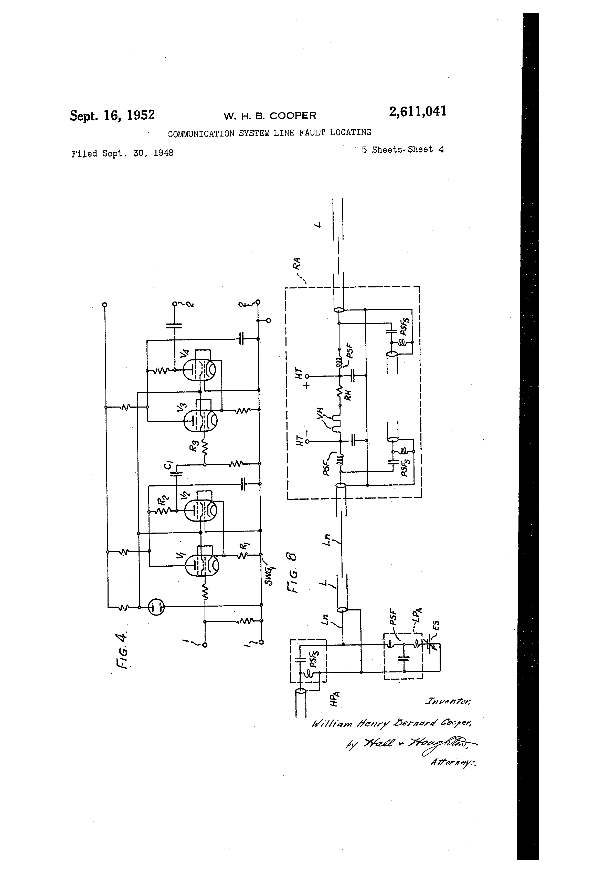patent us2611041 munication system line fault locating Cable Locator patent drawing