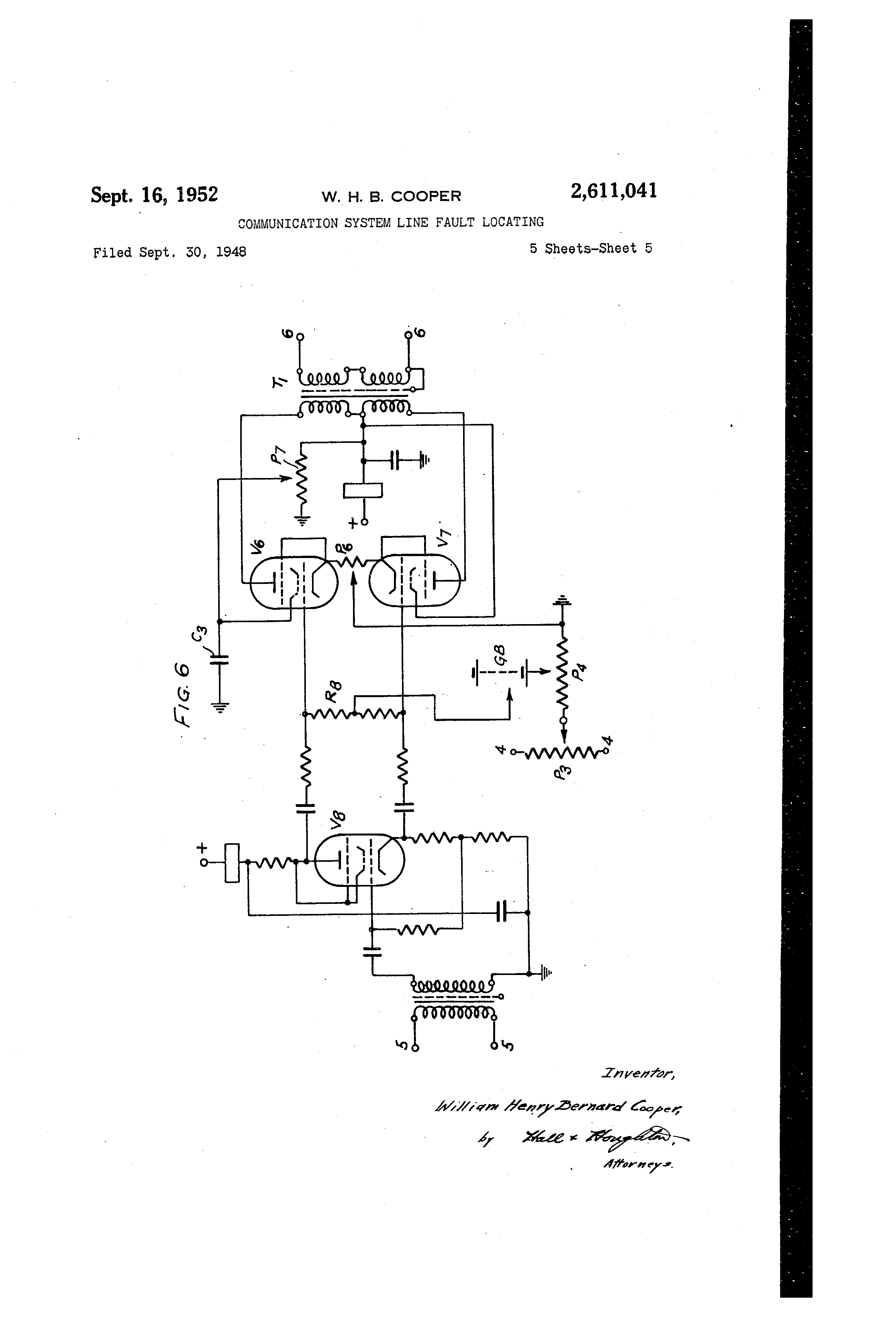 patent us2611041 munication system line fault locating Sewer Line Locator patent drawing
