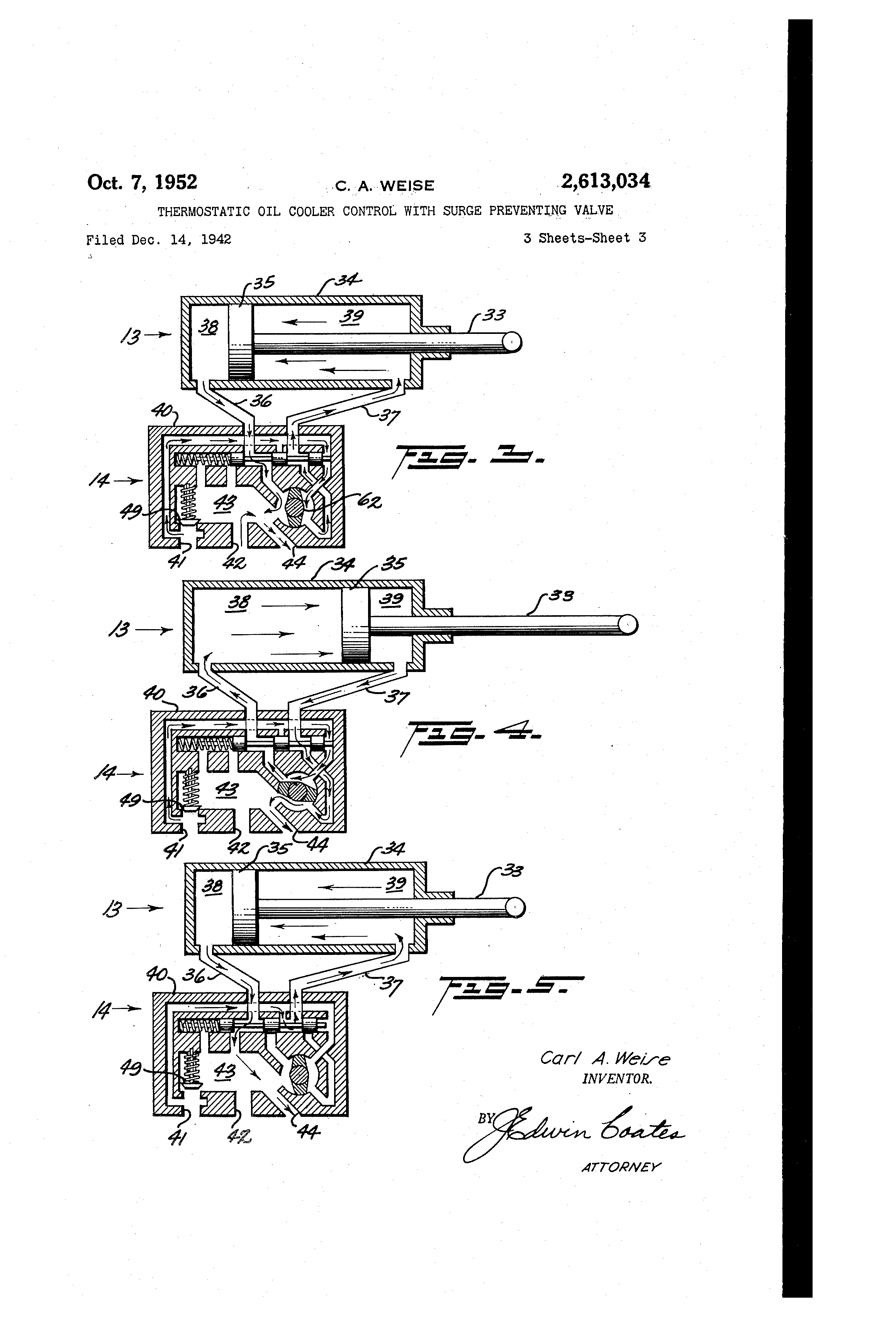 patent us2613034 - thermostatic oil cooler control with surge preventing valve