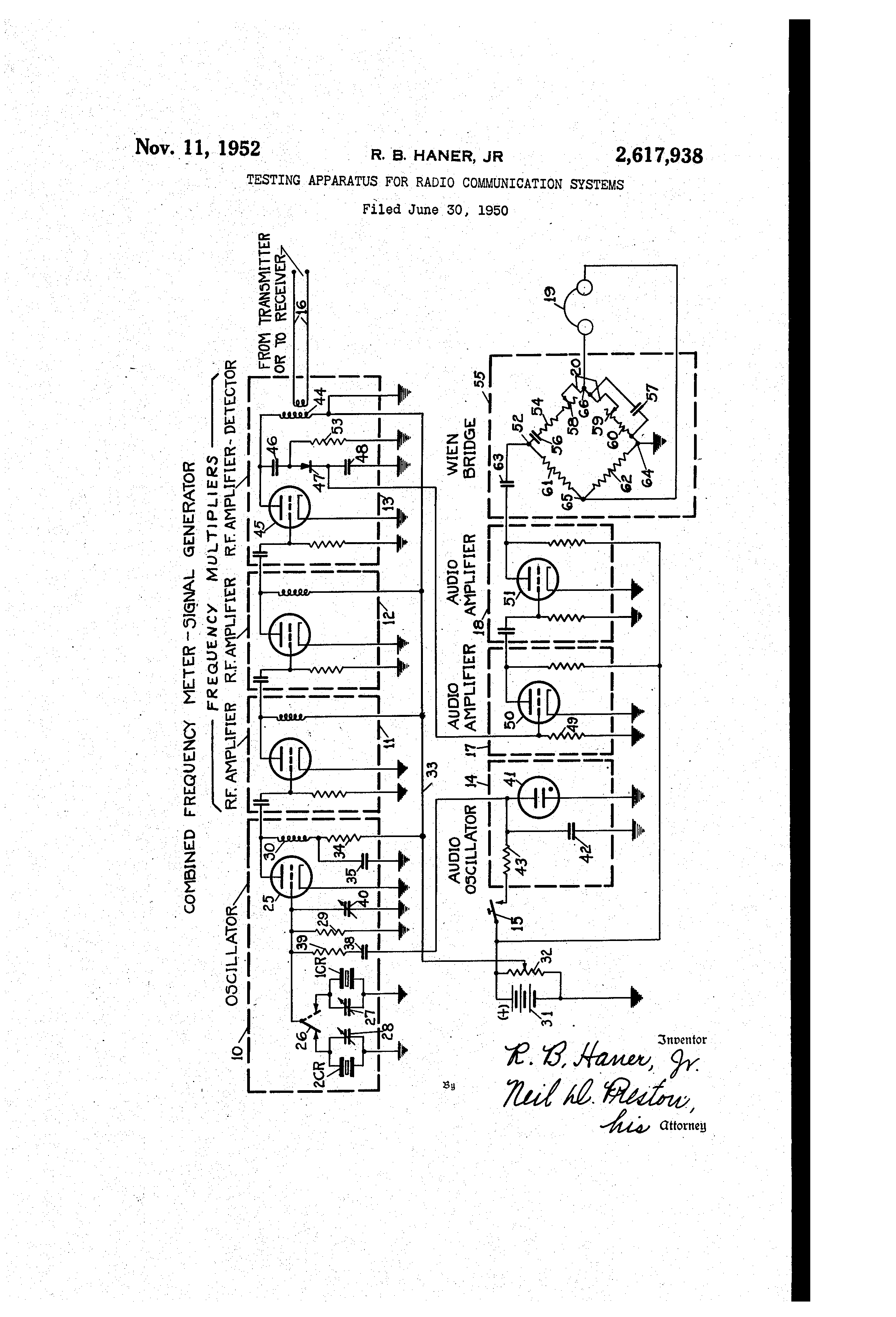 Patent Us2617938 Testing Apparatus For Radio Communication Systems Diagram Additionally Rf Modulator Circuit Besides Lifier Drawing