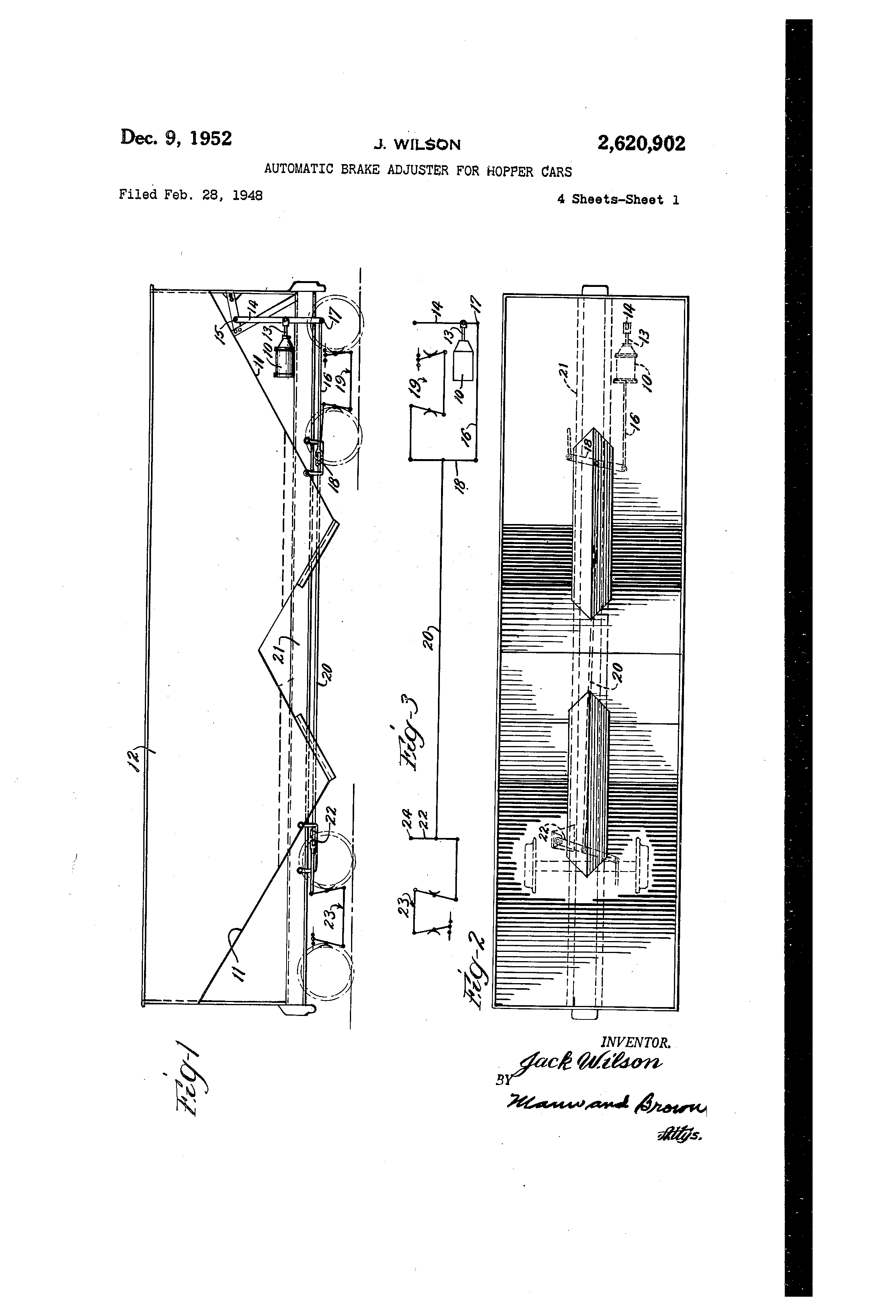 Patent Us2620902 Automatic Brake Adjuster For Hopper Cars Google Wilson Bottom Wiring Diagrams Drawing
