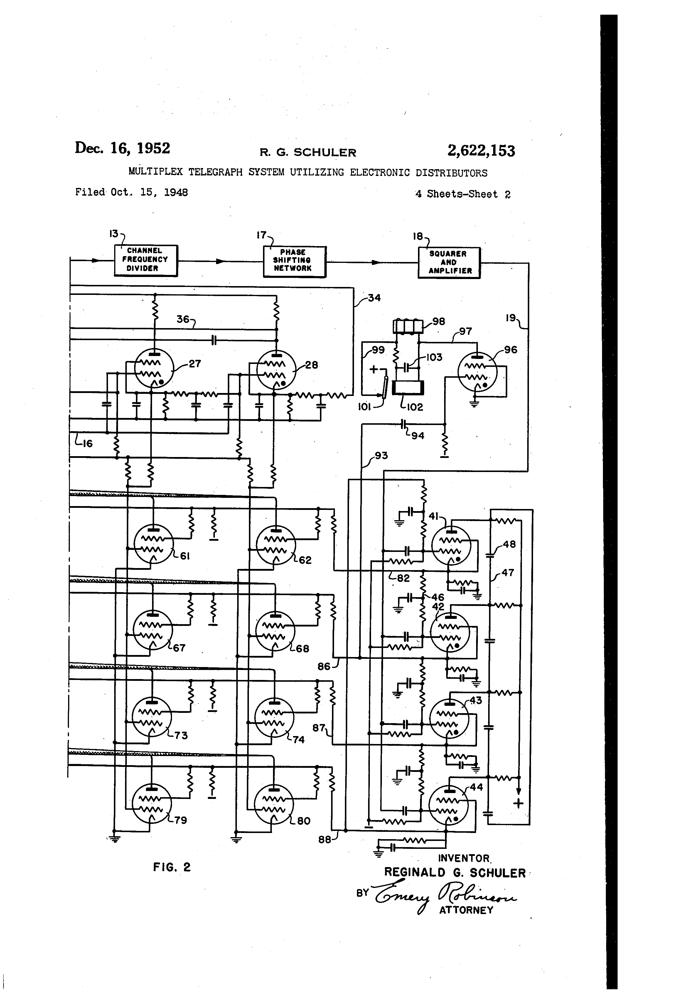 Patent Us2622153 Multiplex Telegraph System Utilizing Electronic Onetube Transmitter Schematic Diagrams And Circuit Descriptions Drawing