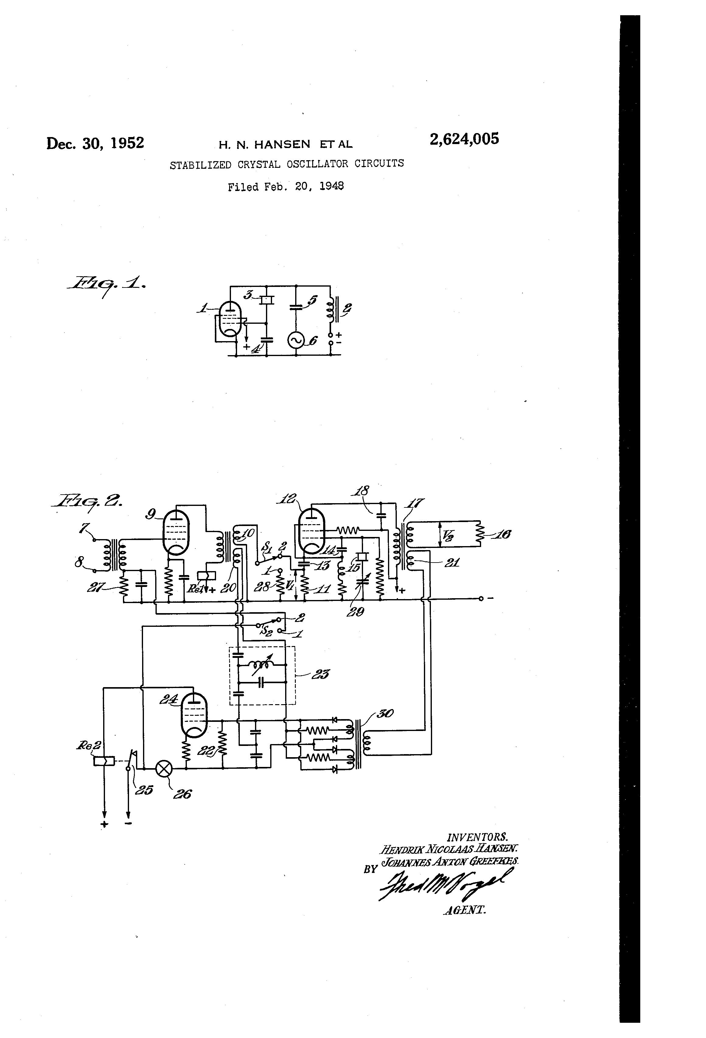 Brevet Us2624005 Stabilized Crystal Oscillator Circuits Google Patent Drawing