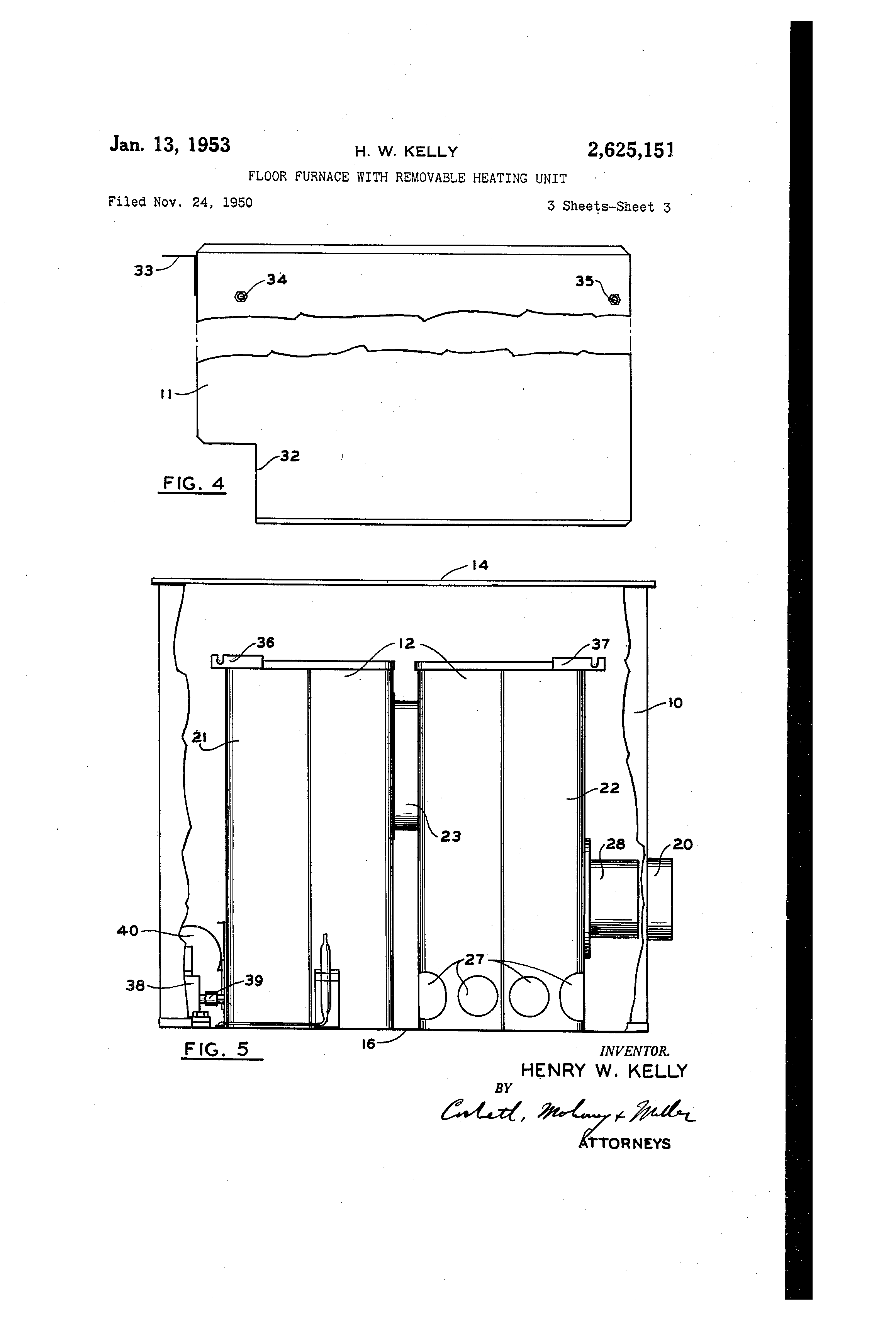 patent us2625151 - floor furnace with removable heating unit