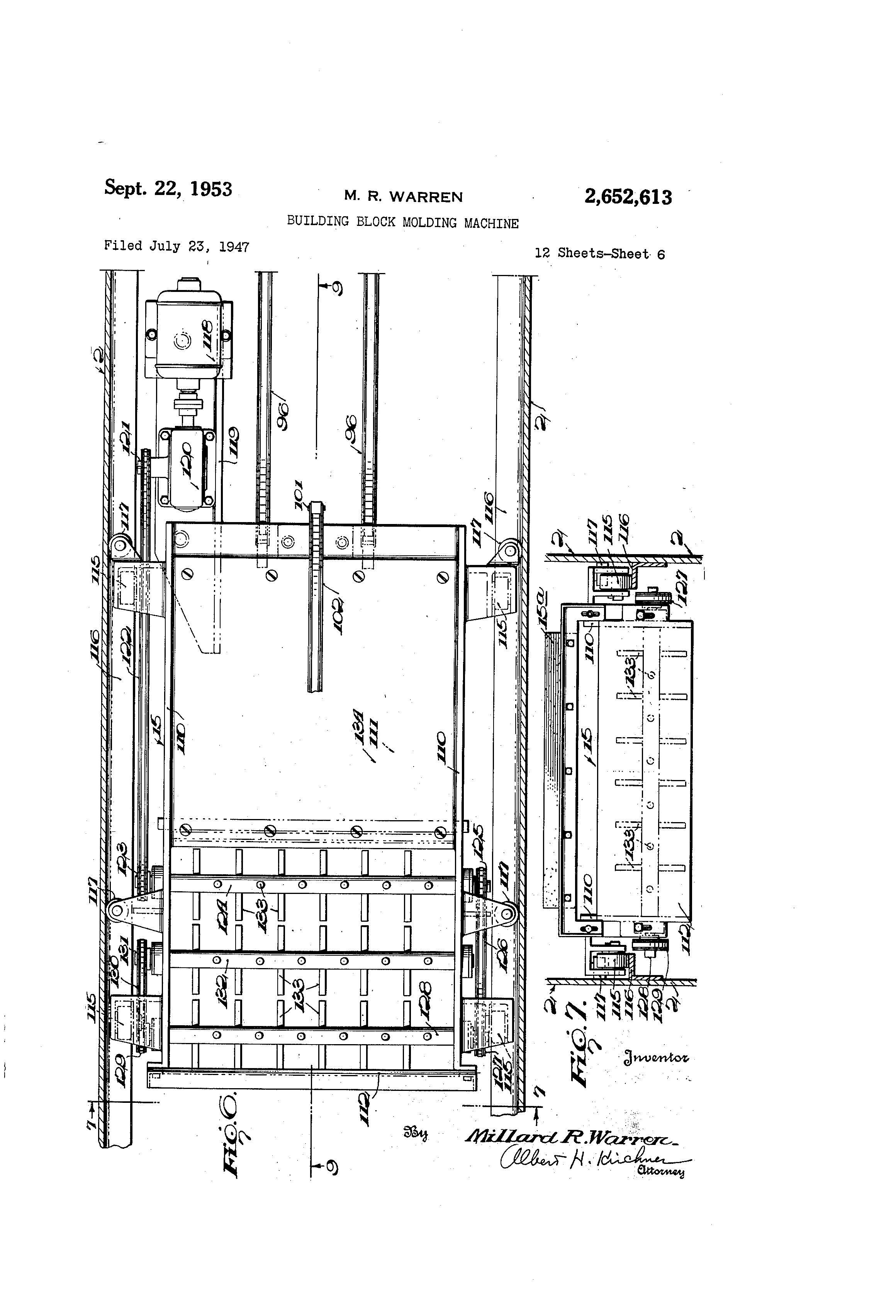patent us2652613 - building block molding machine