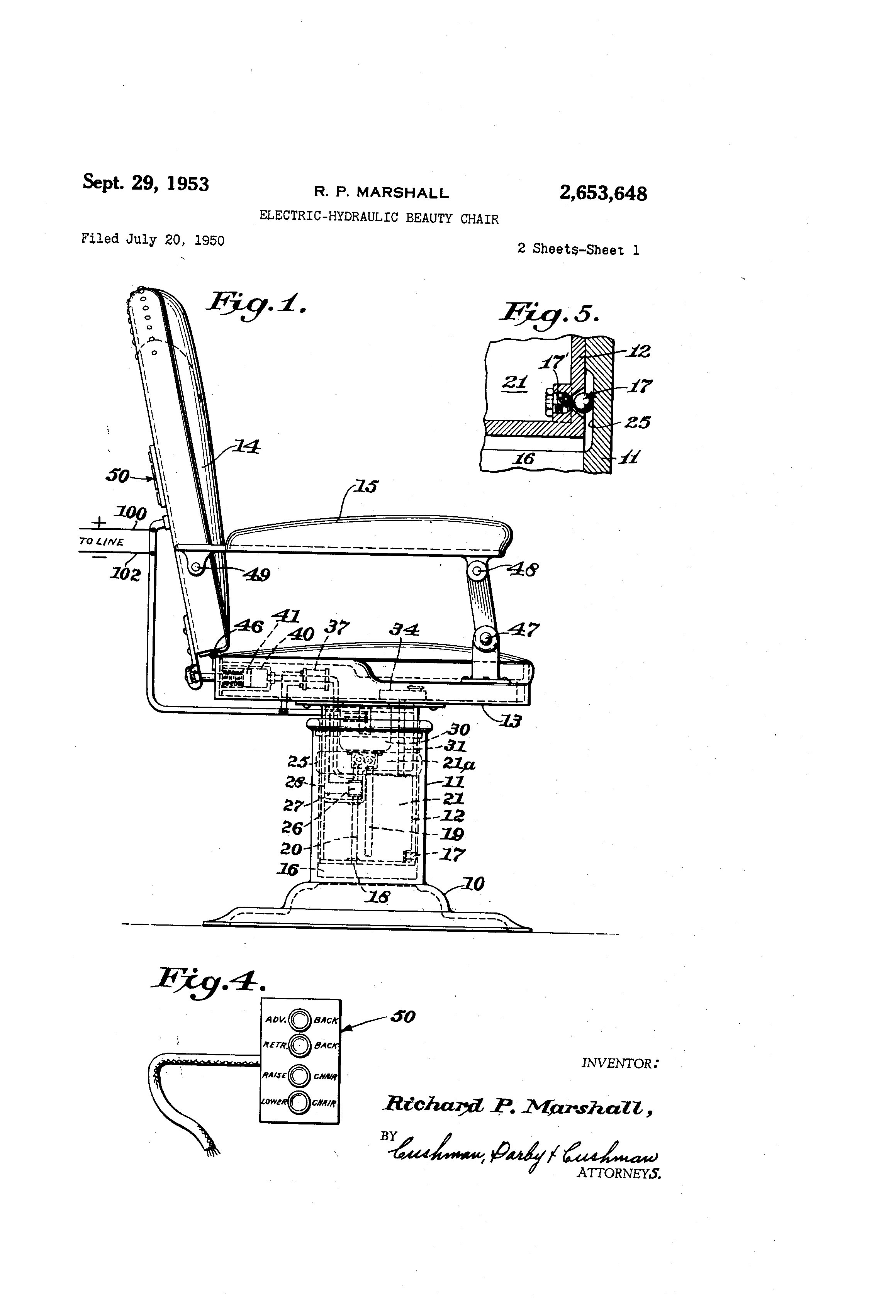 patent us2653648 electric hydraulic beauty chair google patents