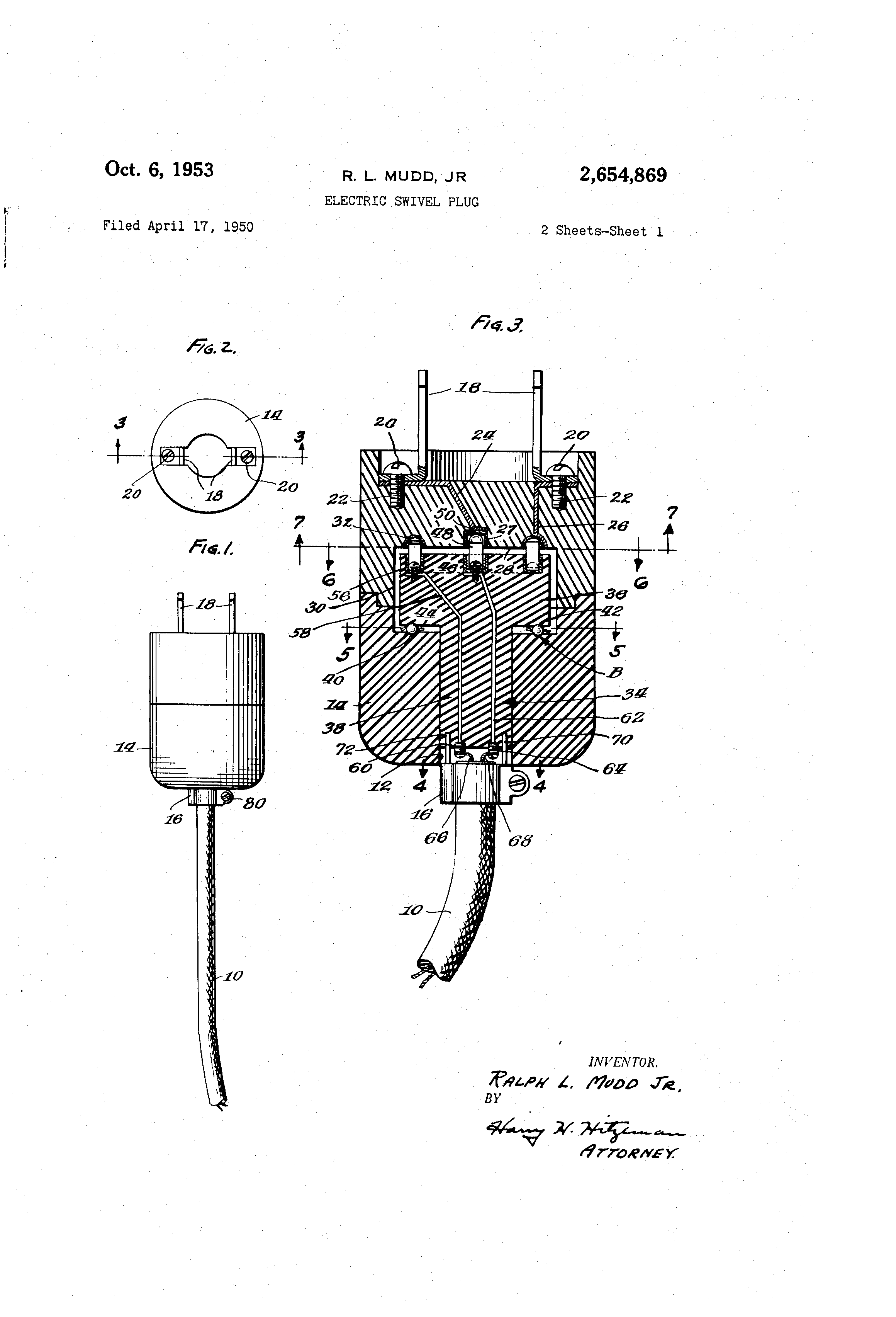 Pivoting Face Receptacle Google Patents On Wiring In Outlets Parallel Or Series Patent Us2654869 Electric Swivel Plug