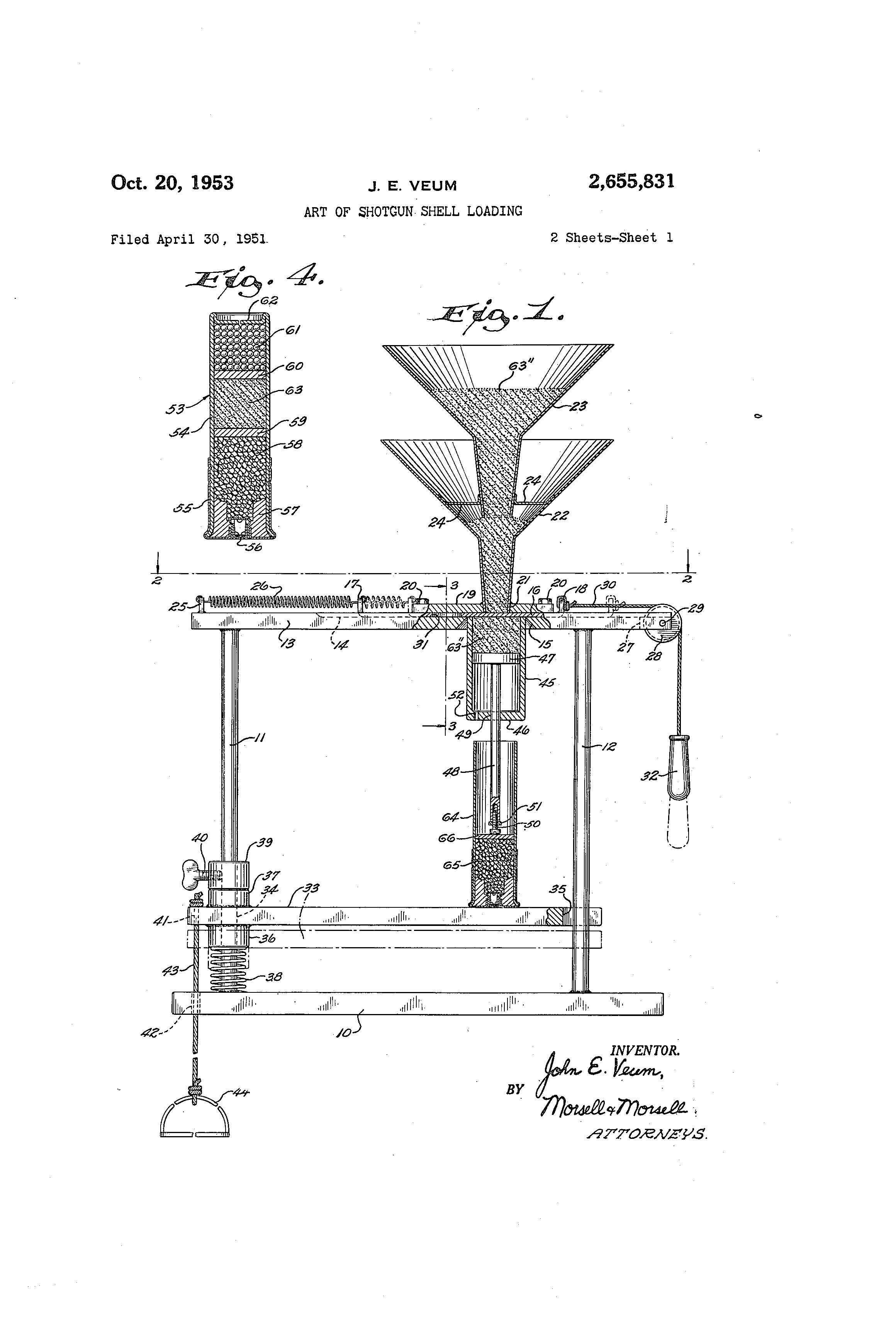 Patent Us2655831 Art Of Shotgun Shell Loading Google Patents Diagram Drawing
